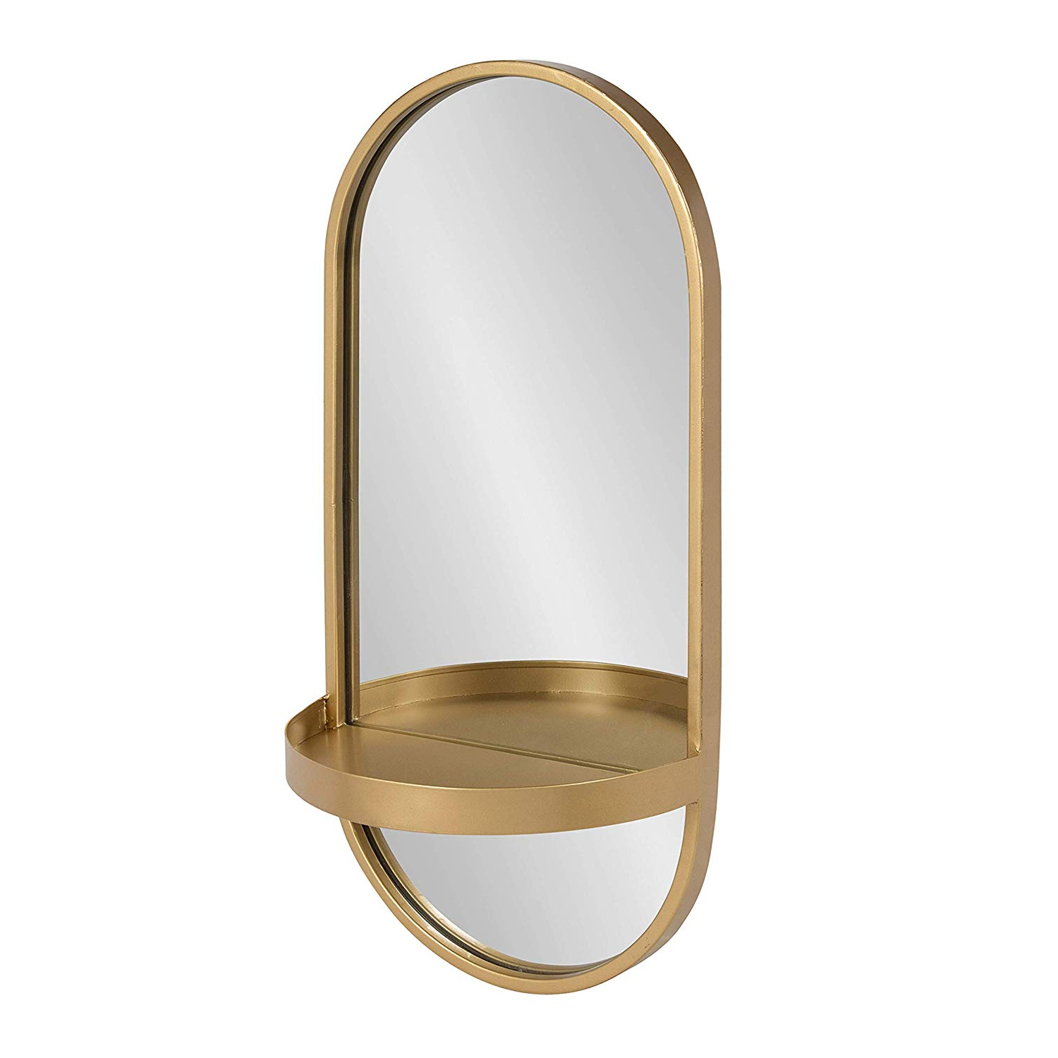 Well Liked Kate And Laurel Estero Modern Metal Wall Mirror With Shelf, Gold In Wall Mirrors With Shelf (View 8 of 20)