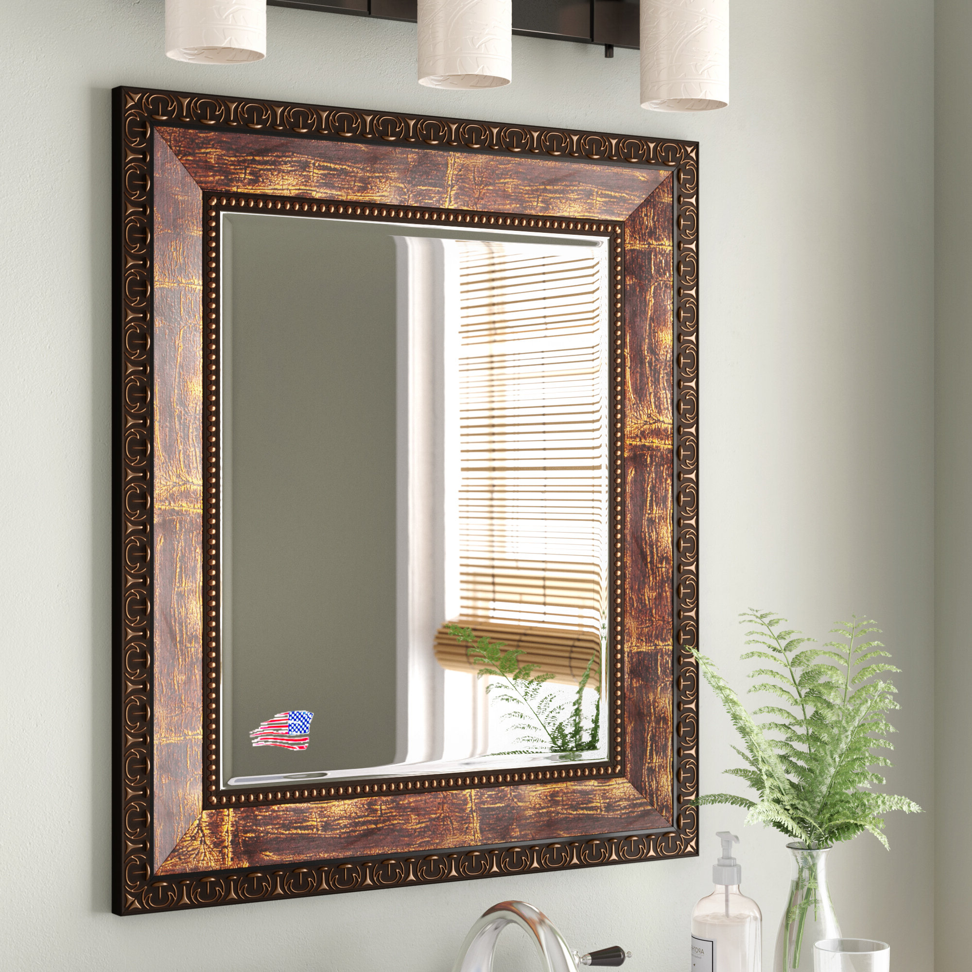 Well Liked Kristy Rectangular Beveled Vanity Mirrors In Distressed In Lofgren Rectangle Wood Traditional Wall Mirror (View 11 of 20)