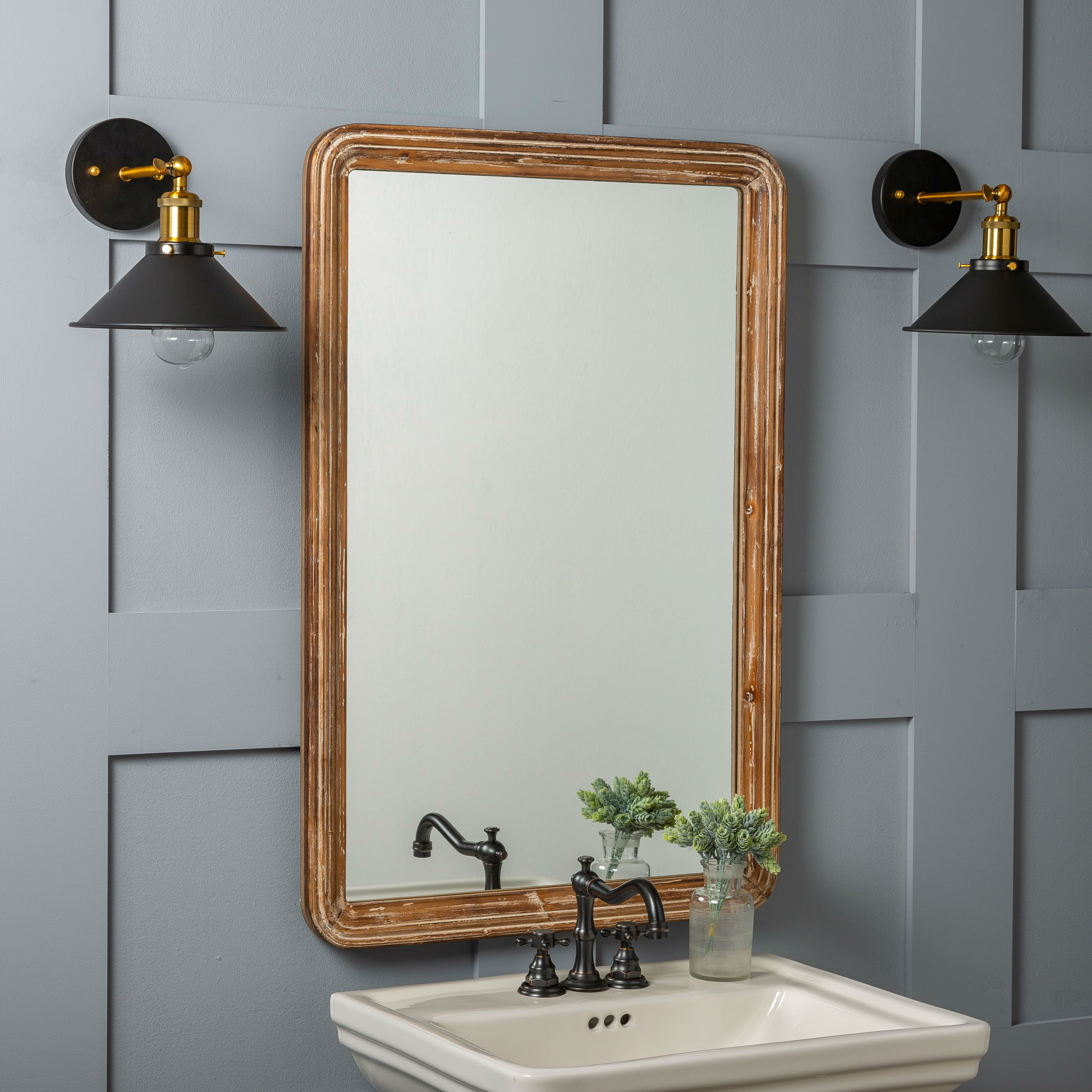 Well Liked Kristy Rectangular Beveled Vanity Mirrors In Distressed Intended For Luman Wall Mirror (View 16 of 20)