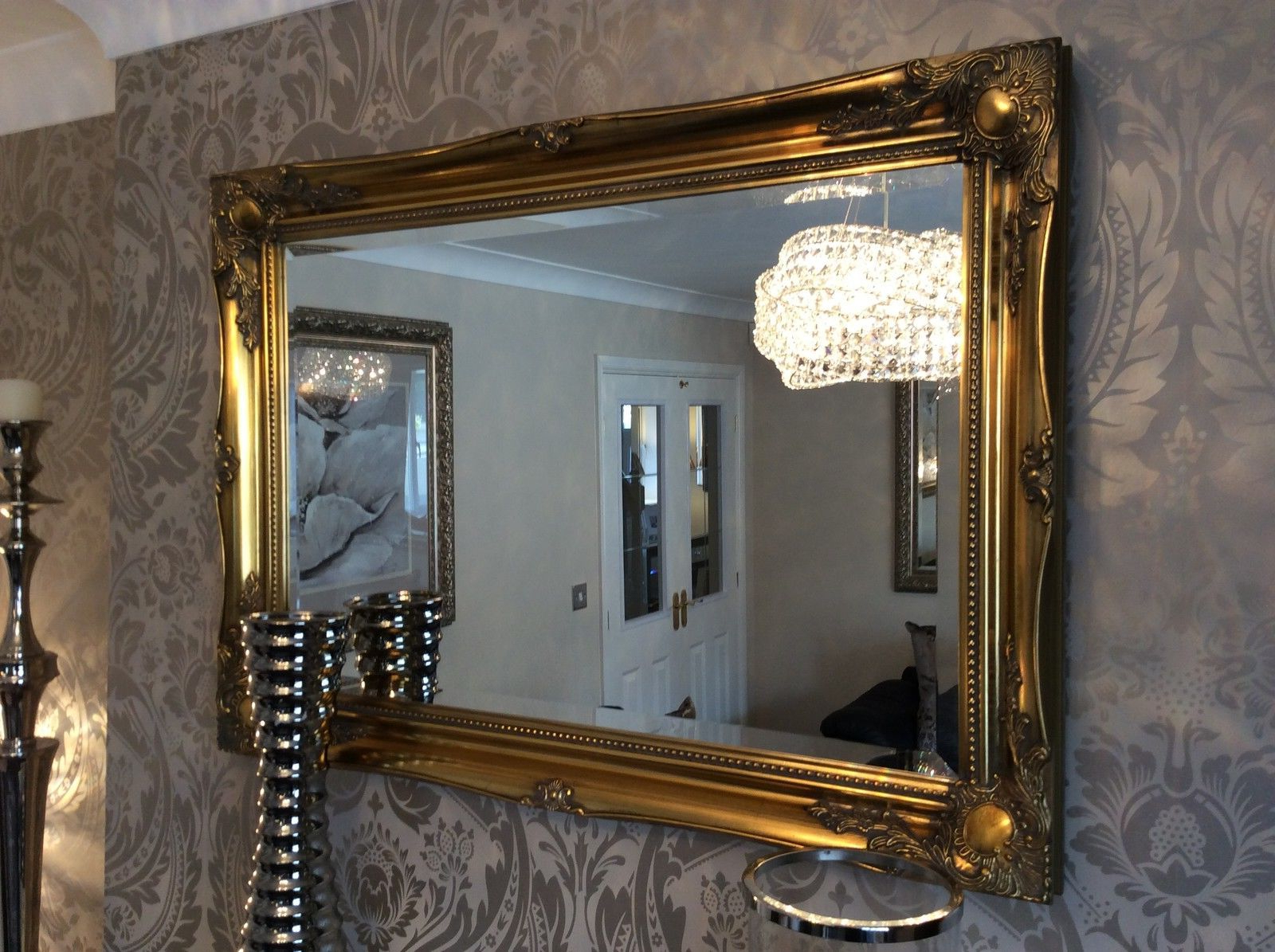 Well Liked Large Antique Wall Mirrors Pertaining To Large Antique Gold Decorative Ornate Stunning Mirror Savew ££S *new* (View 7 of 20)