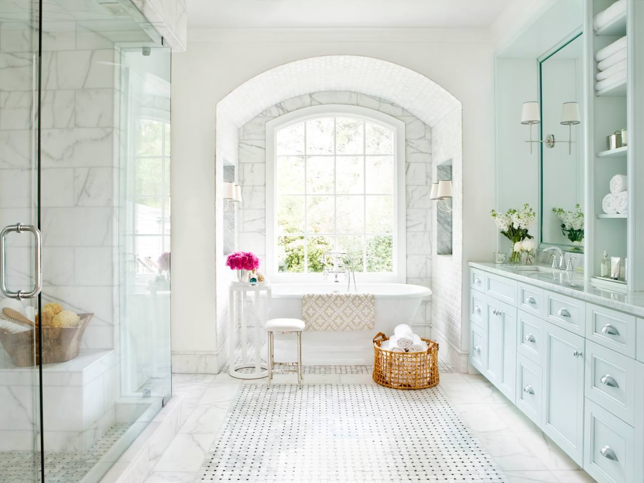 Well Liked Large Wall Mirrors For Bathroom Intended For White Marble Bathroom Designs Rectangle Shape Large Wall Mirror (View 20 of 20)