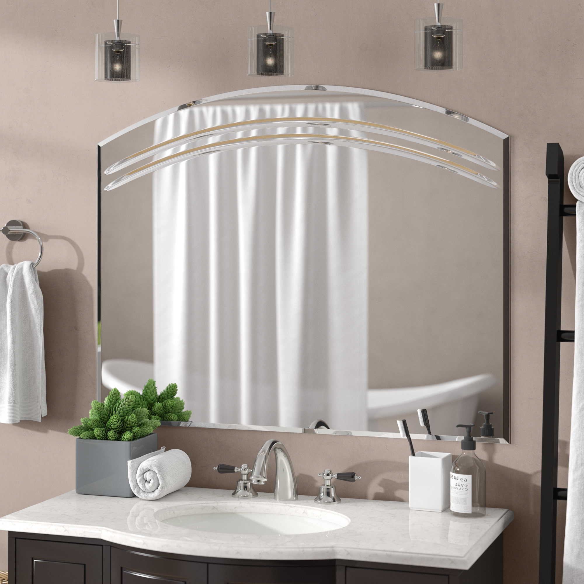 Well Liked Lidya Frameless Beveled Wall Mirrors Inside Rosecliff Heights Wallingford Large Frameless Wall Mirror & Reviews (View 18 of 20)