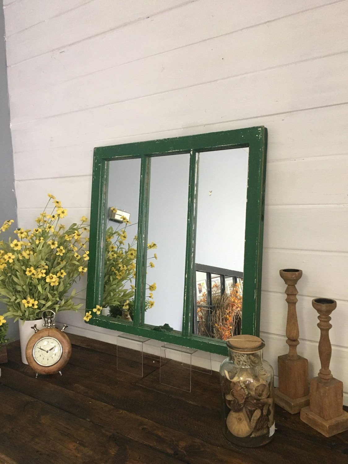 Well Liked Nursery Wall Mirrors Within Distressed Barn Window Mirror Made From A 1930s Home (View 14 of 20)