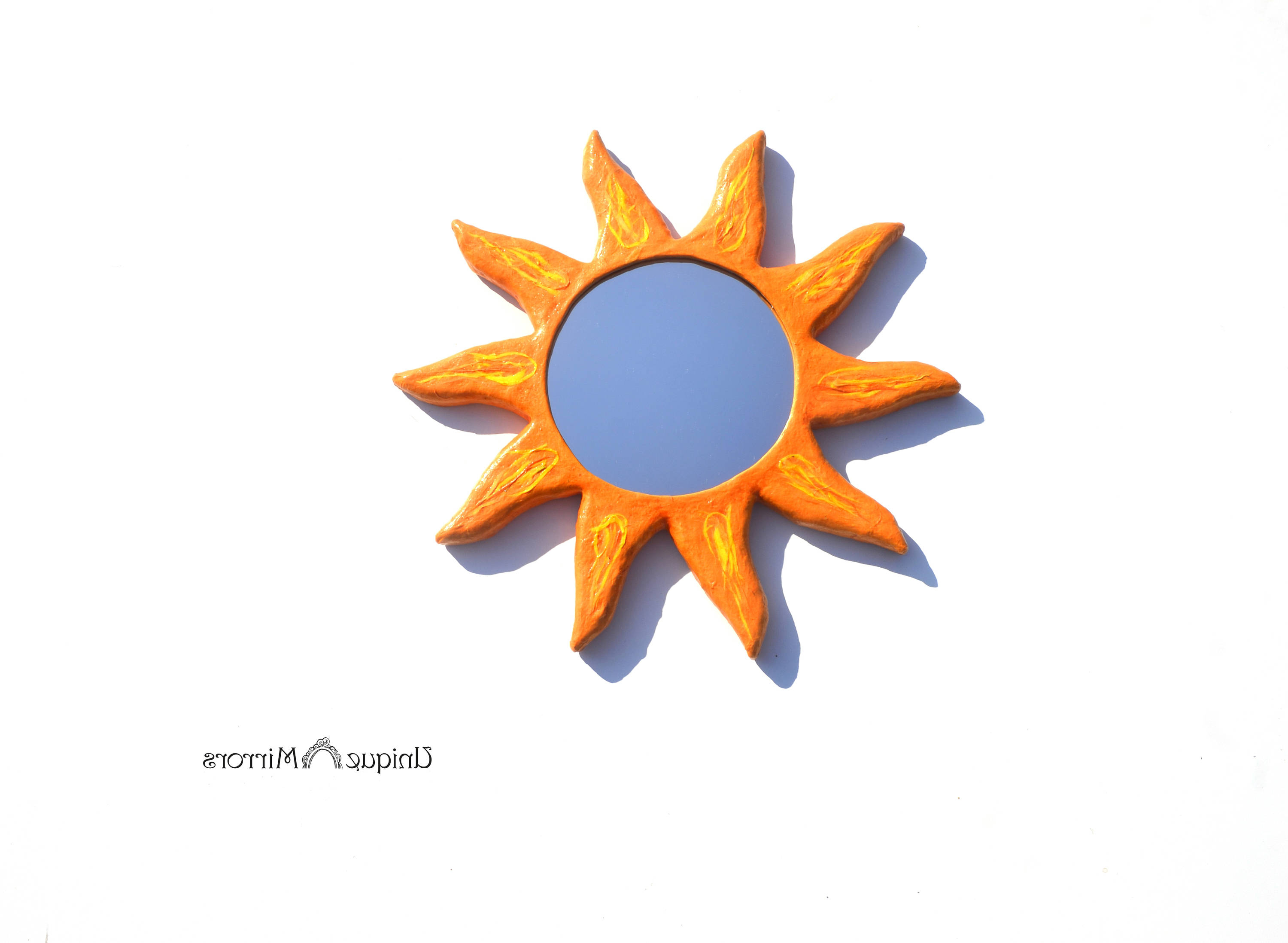 Well Liked Orange Sunburst Mirror, Decorative Wall Mirror, Round Mirror, Wall Hanging Mirror, Home & Office Decor, Mirror For Walls, Hippie Home Mirror Regarding Orange Wall Mirrors (View 9 of 20)