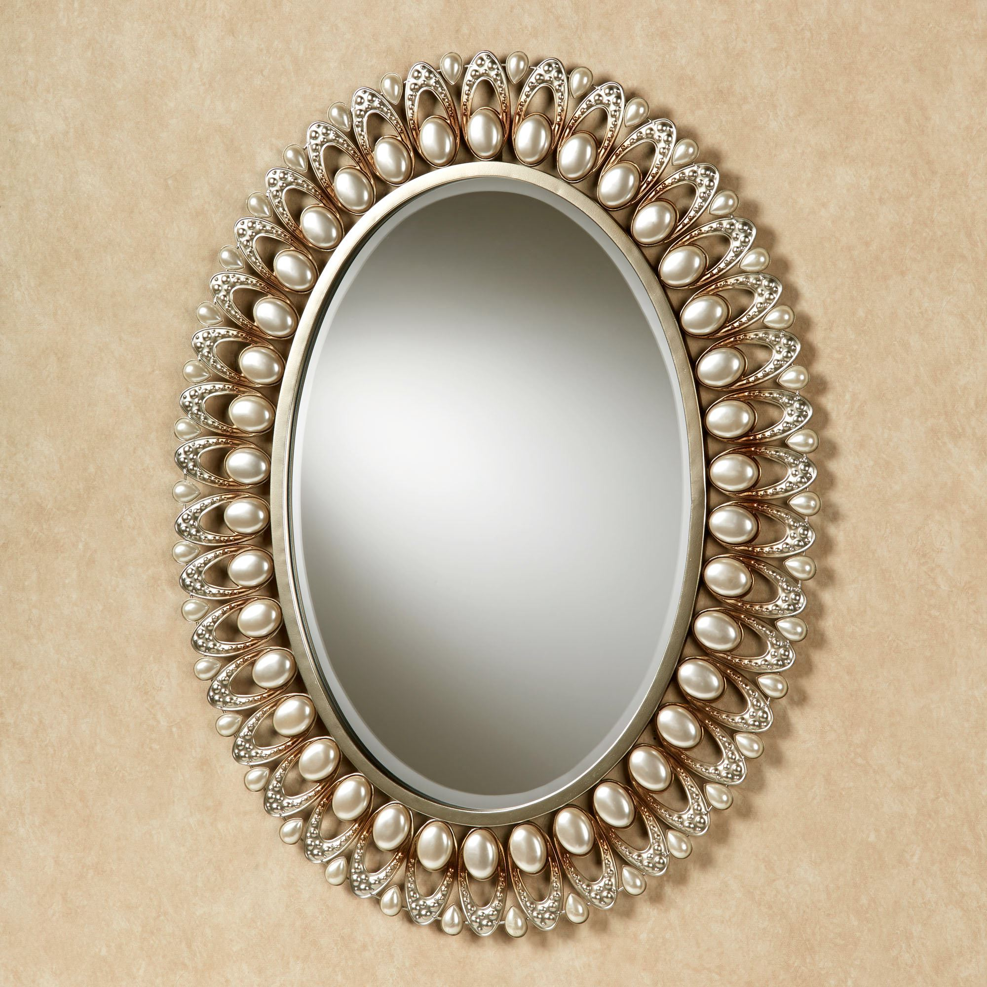 Well Liked Oval Wall Mirrors With Julietta Pearl Oval Wall Mirror (View 9 of 20)