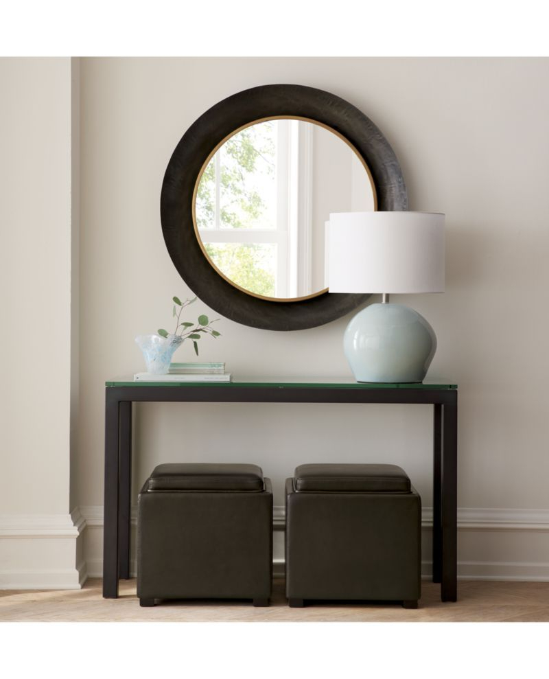 Well Liked Parsons Wall Mirrors Regarding Parsons Clear Glass Top/ Dark Steel Base 48X16 Console In  (View 19 of 20)