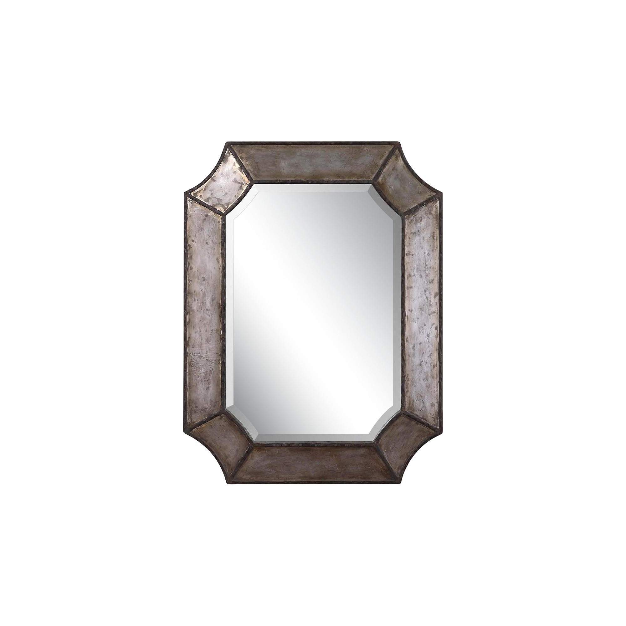 Well Liked Rectangle Elliot Distressed Aluminum Decorative Wall Mirror In Maude Accent Mirrors (View 5 of 20)