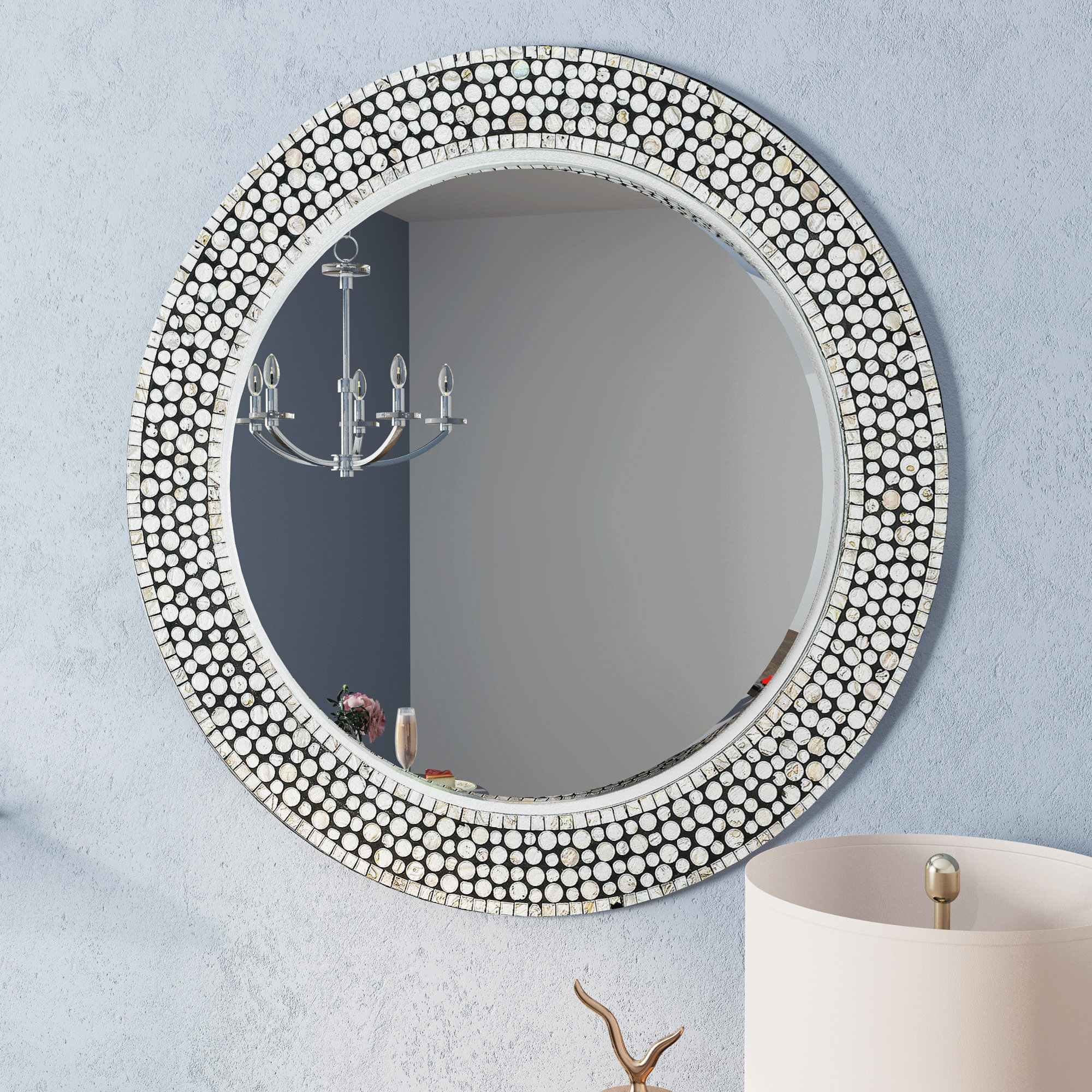 Well Liked Round Gray Decorative Wall Mirror Pertaining To Glen View Beaded Oval Traditional Accent Mirrors (View 20 of 20)