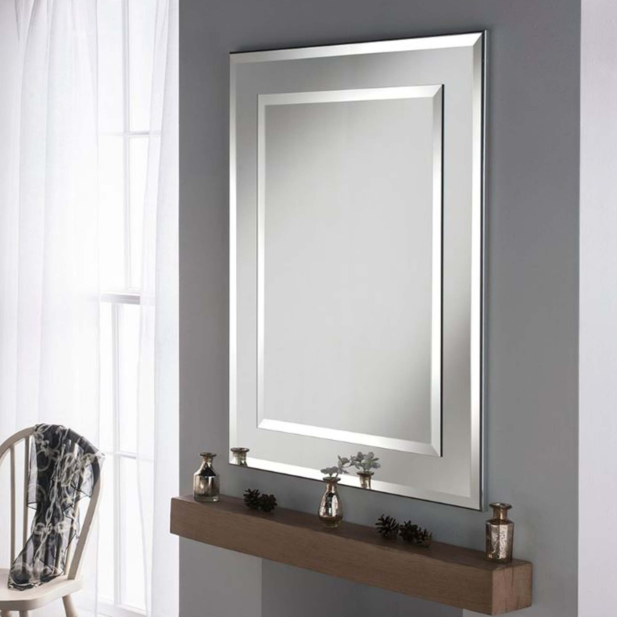 Well Liked Silver Framed Wall Mirrors Pertaining To Contemporary Wall Mirror Rectangular Silver Frame (Gallery 10 of 20)