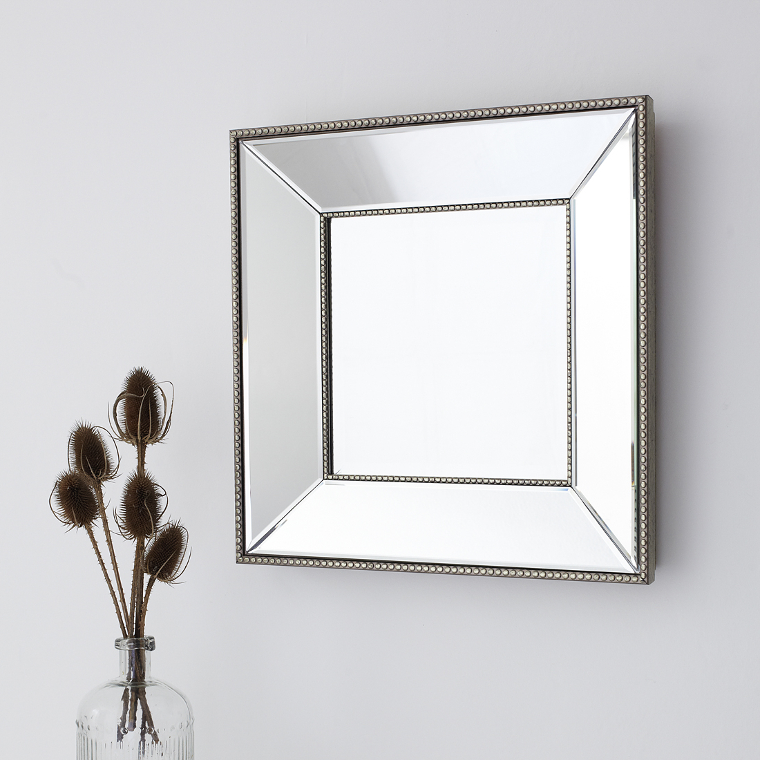 Well Liked Small Beaded Square Wall Mirror Inside Glass Wall Mirrors (View 12 of 20)