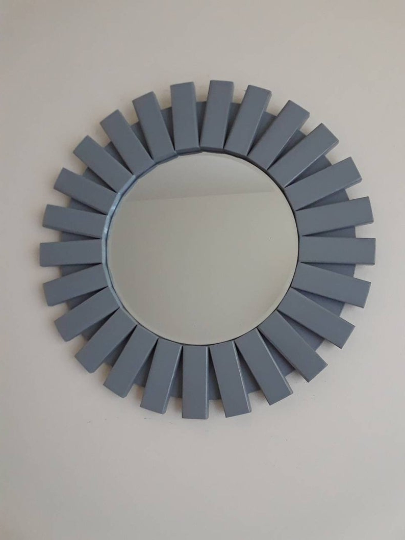"Well Liked Sunburst Round Wall Mirror Wooden Magnetic Grey 20"" For Deniece Sunburst Round Wall Mirrors (View 11 of 20)"