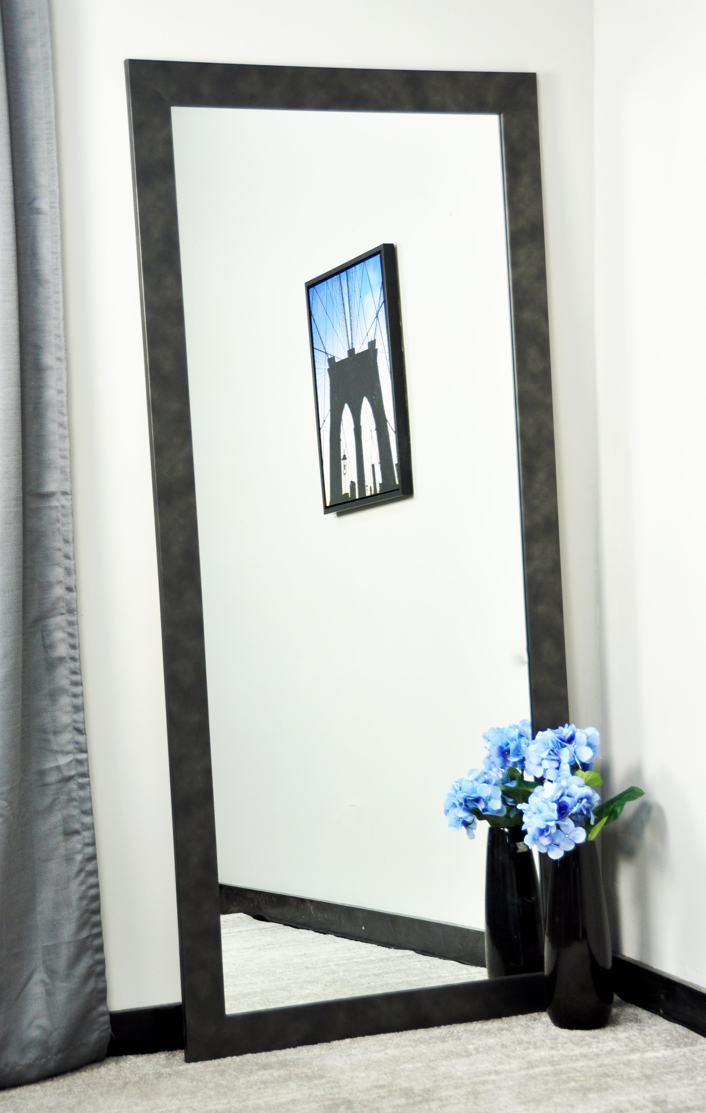 Well Liked Tall Wall Mirrors Inside Bedlington Vintage Black Tall Vanity Wall Mirror (View 20 of 20)