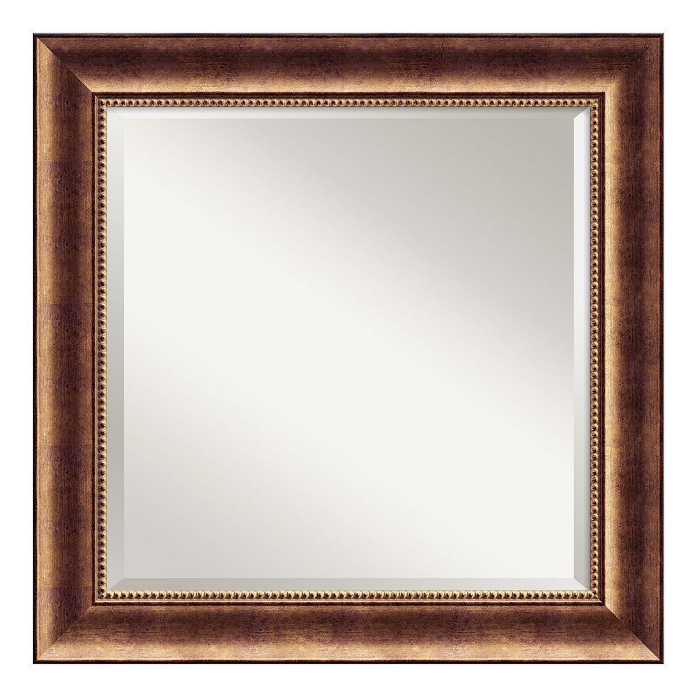 Well Liked Traditional Square Glass Wall Mirrors In Amanti Art Manhattan Bronze Finish Traditional Wood Wall Mirror (Gallery 6 of 20)