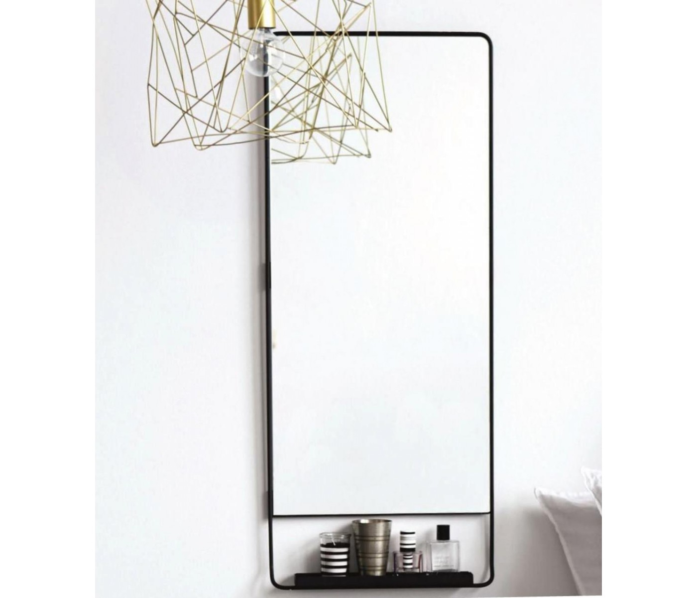 Well Liked Vertical Wall Mirrors Regarding Vertical Wall Mirror Chic With Shelfe And Black Edge House (View 11 of 20)