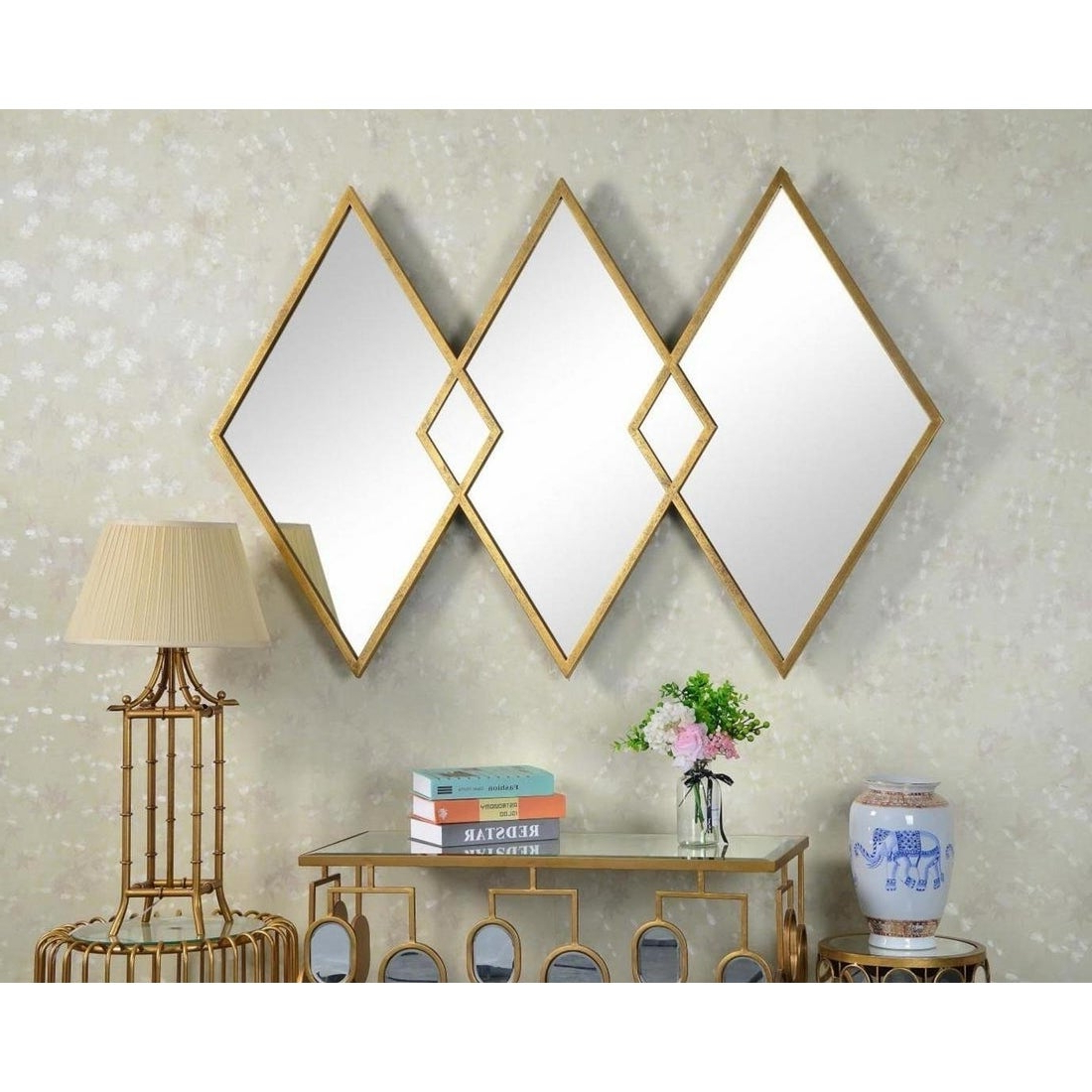 Well Liked West Elm Style Diamond Gold Metal Wall Mirror With Regard To West Elm Wall Mirrors (View 9 of 20)