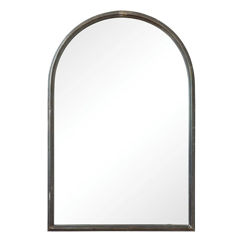 "Well Liked Yedinak Modern Distressed Accent Mirrors In 36"" X 24"" Decorative Wall Mirror Gray – 3R Studios (View 12 of 20)"