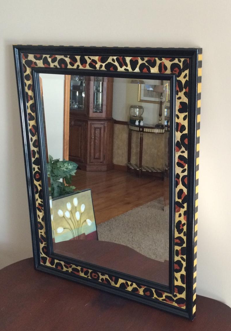 Whimsical Painted Mirror, Leopard Painted Mirror, Painted Wall Mirror, Wall  Mirror Hand Painted Home Decor With Regard To Most Current Leopard Wall Mirrors (View 20 of 20)