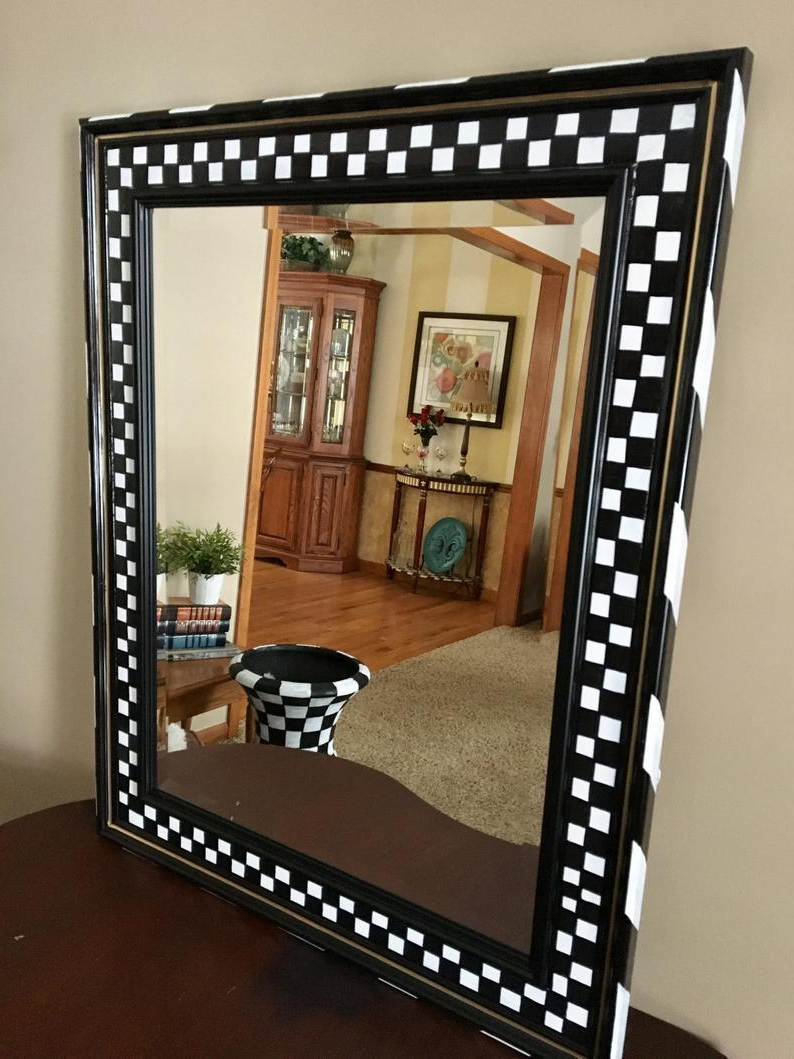 Whimsical Painted Mirror, Painted Wall Mirror, Black And White Checkered Wall Mirror Hand Painted Home Decor Pertaining To Most Popular Hand Painted Wall Mirrors (View 11 of 20)