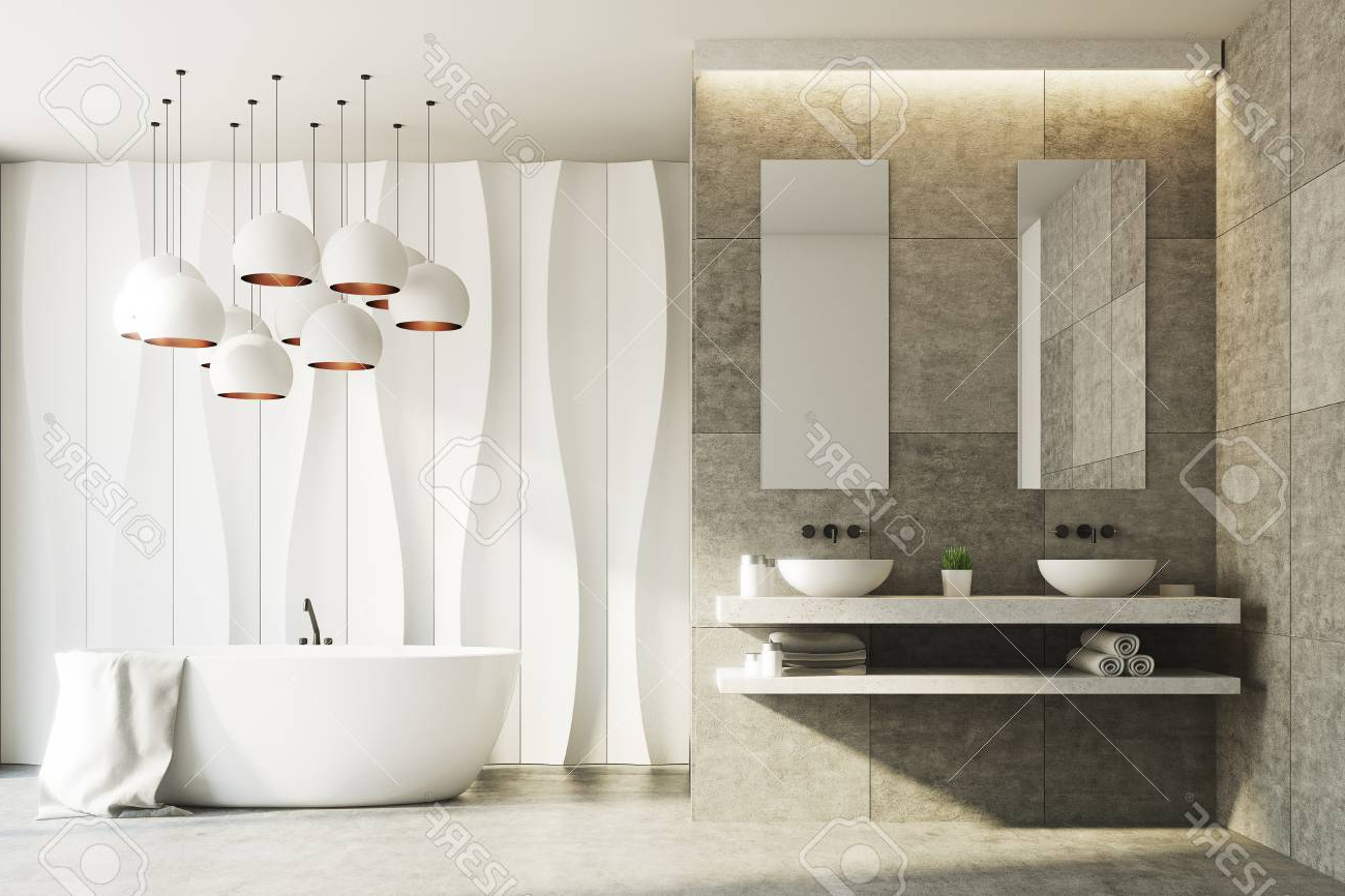White And Marble Bathroom Interior With A Wavy Wall Pattern And. (View 11 of 20)
