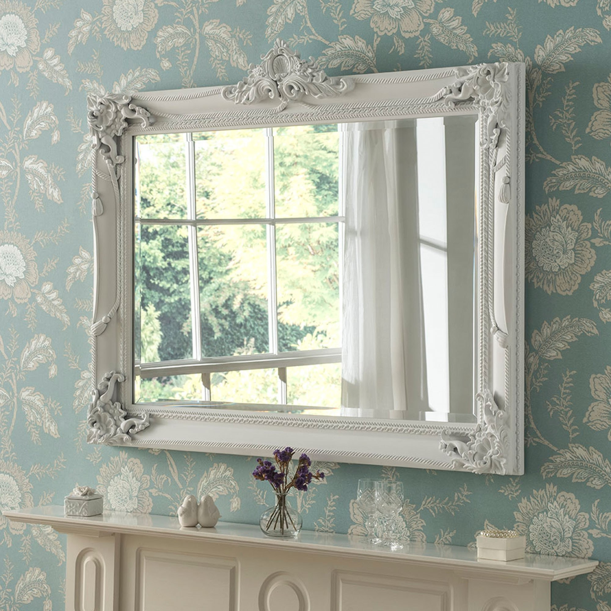 White Antique French Style Ornate Wall Mirror Regarding 2020 Ornate Wall Mirrors (View 14 of 20)