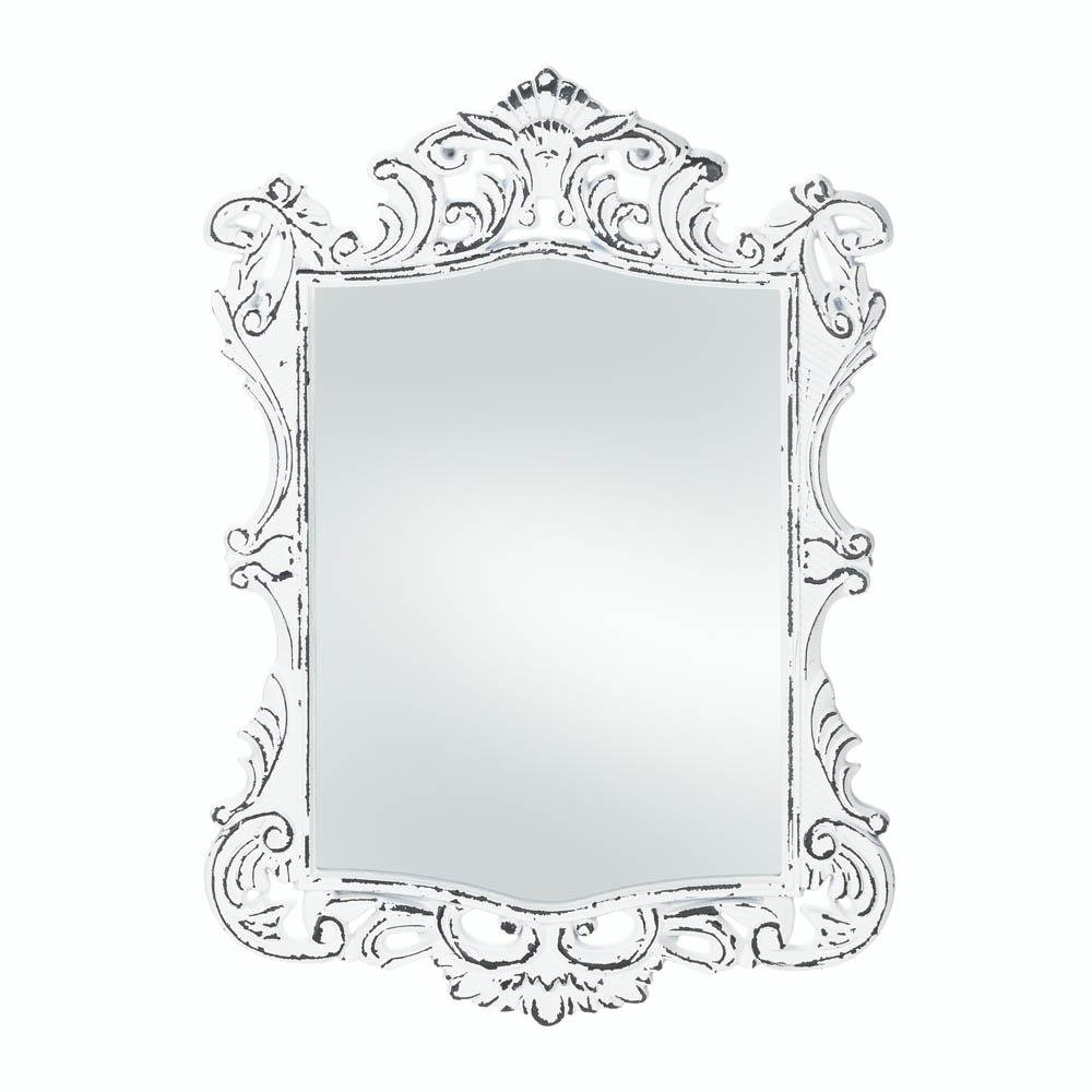 White Decorative Wall Mirrors In Most Popular Details About Wall Mirrors, Antique Girls Bedroom Decorative Regal White Etched Wall Mirror (View 3 of 20)