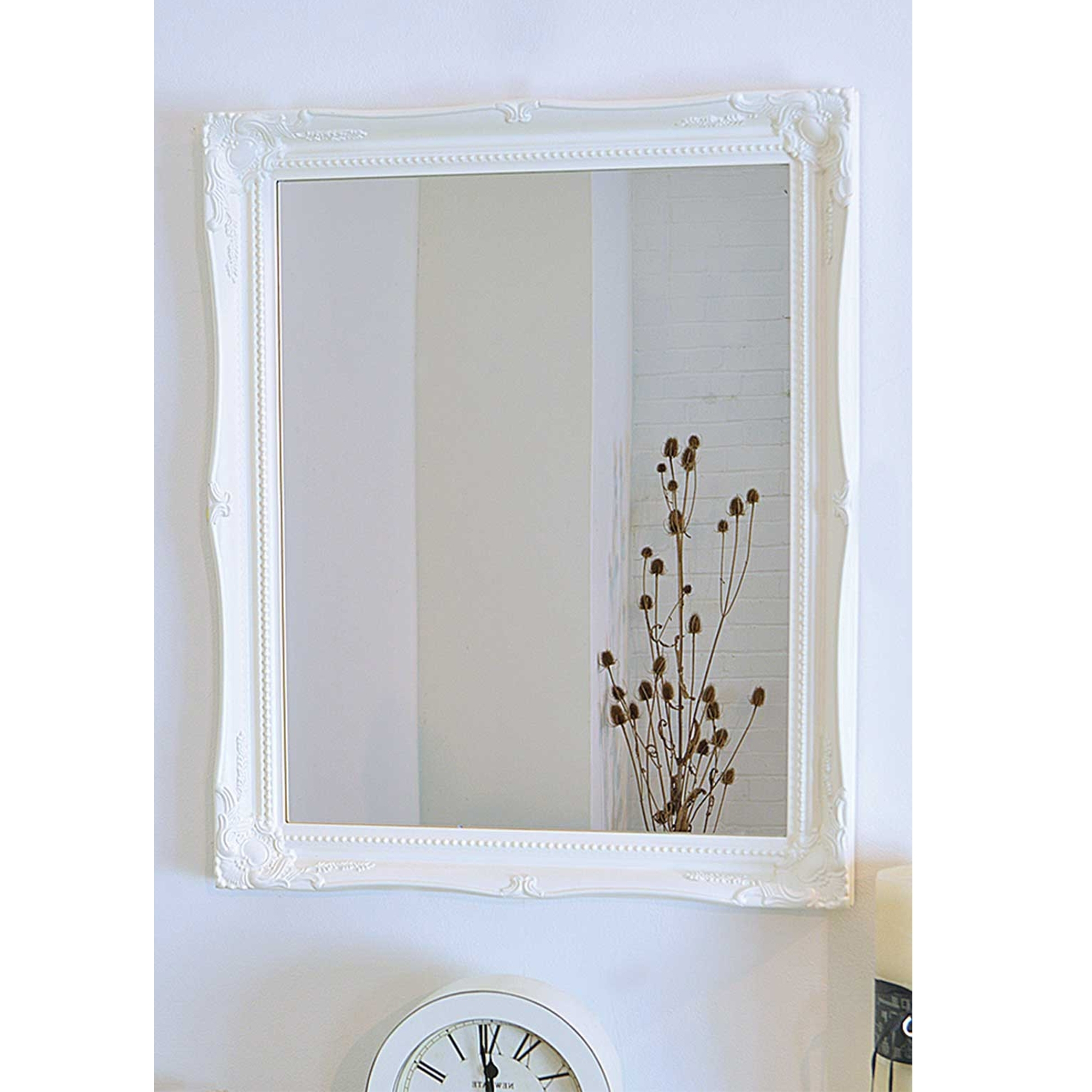 White Frame Wall Mirrors With Regard To Well Known Ornate Antique French Style Wall Mirror (View 12 of 20)