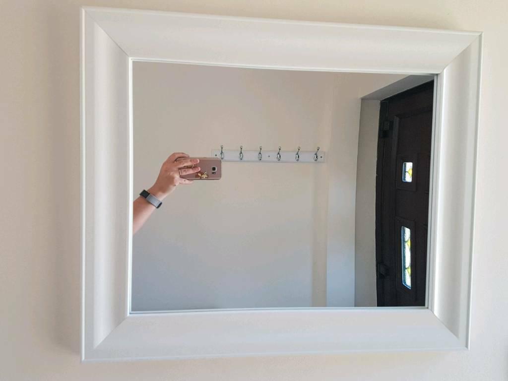 White Framed Wall Mirror & White Coat Hooks (View 16 of 20)
