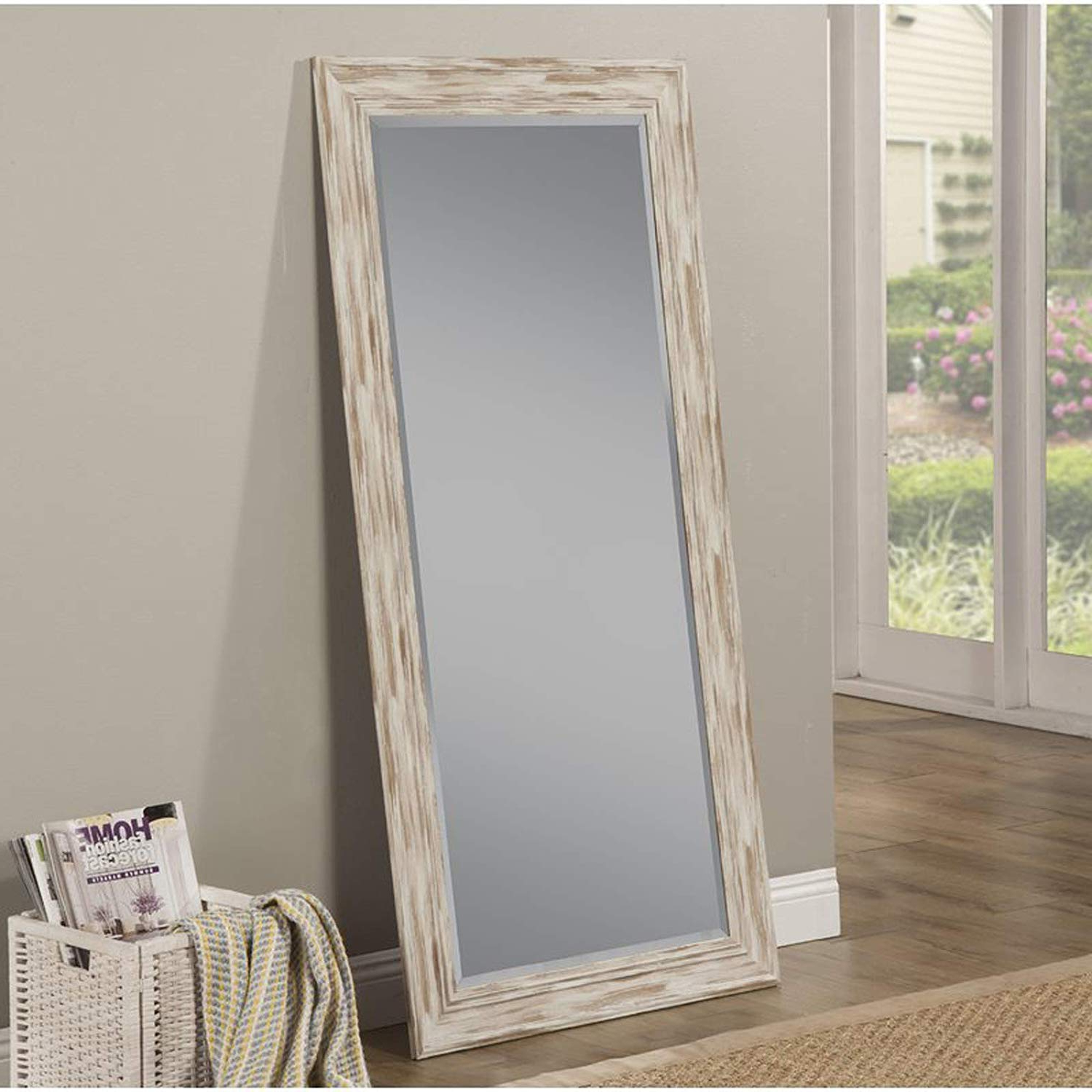 White Full Length Wall Mirrors With Regard To Well Liked Full Length Wall Mirror – Rustic Rectangular Shape Horizontal & Vertical Mirror – Can Be Use In Living Room, Bedroom, Entryway Or Bathroom (antique (View 5 of 20)