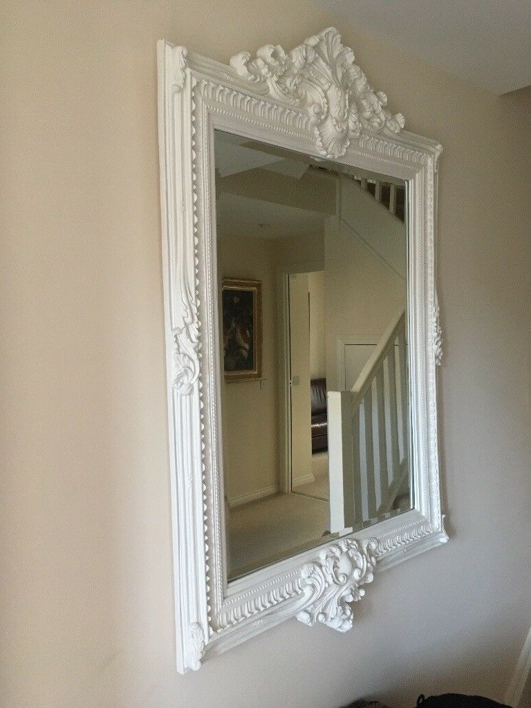 White Long Wall Mirrors Regarding Famous Large, White, Ornate Wall Mirror (View 6 of 20)