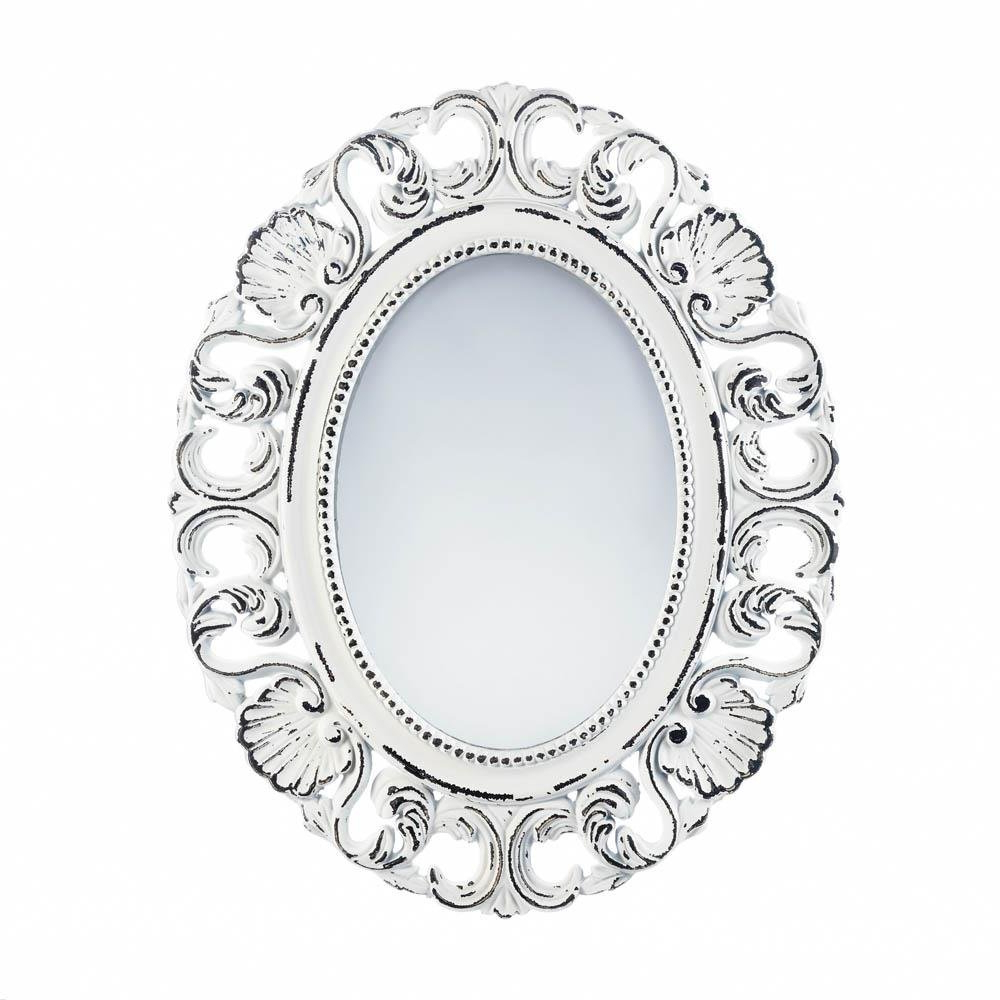 White Oval Wall Mirrors In Latest Details About Wall Mirrors, Antique Girls Bedroom Decorative Off White Etched Wall Mirror (View 13 of 20)