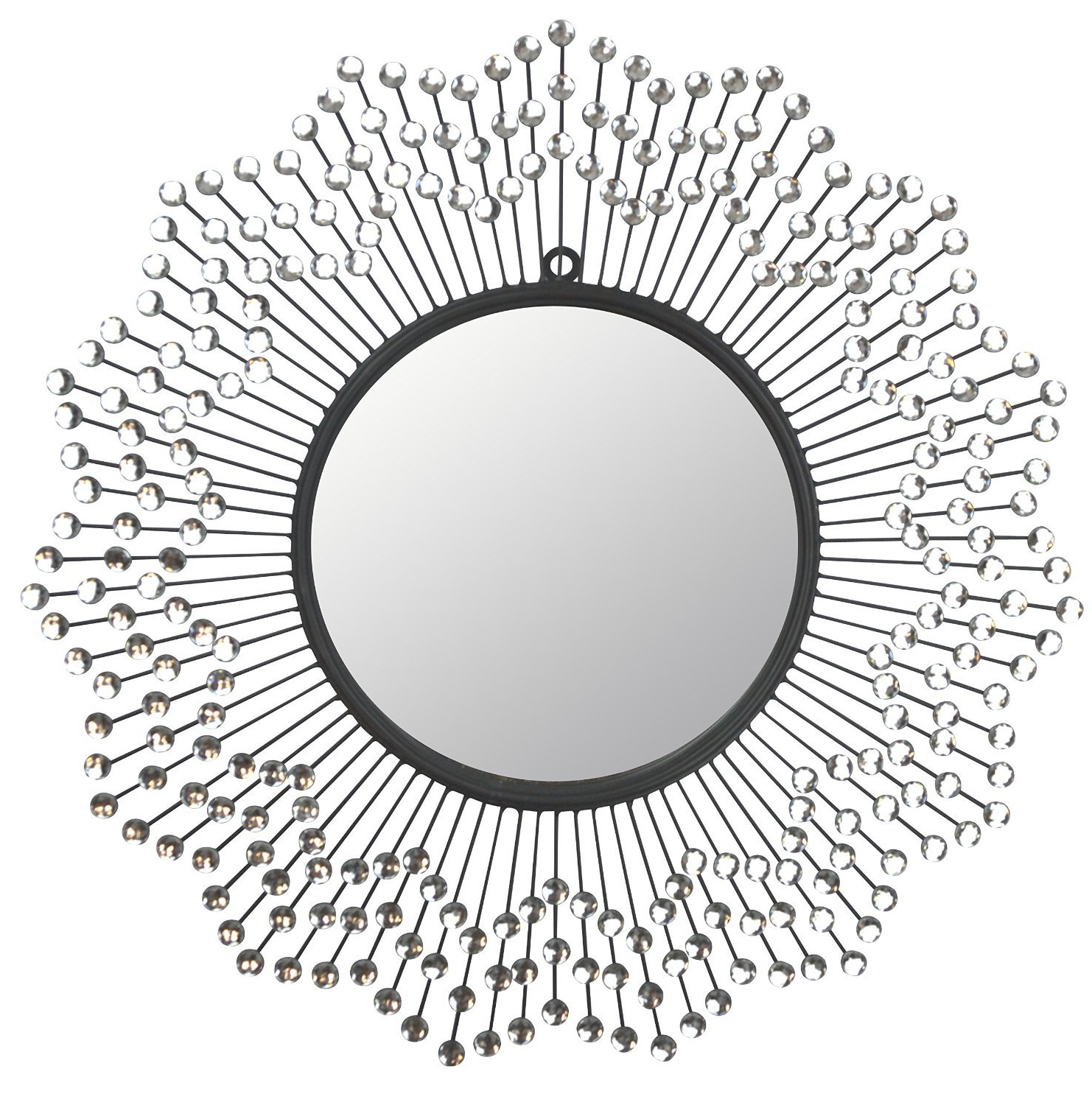 "White Round Wall Mirrors In Newest Lulu Décor, Celebration Metal Wall Mirror, Frame 24"", Round Decorative Mirror For Living Room And Office Space (View 18 of 20)"