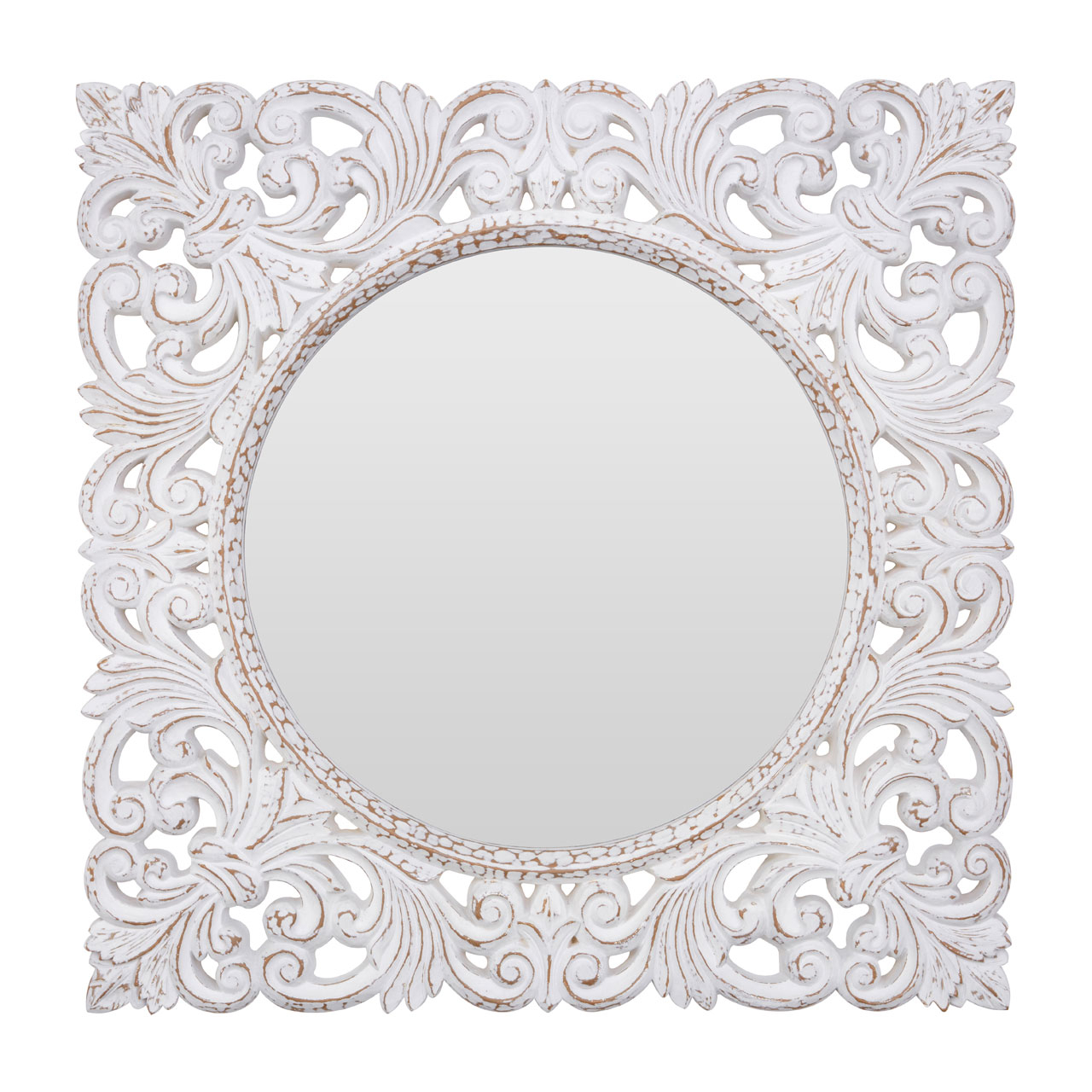 White Round Wall Mirrors Intended For Famous Details About Helga Wall Mirror Polyurethane Frame Antique White Round Home Décor Contemporary (View 15 of 20)