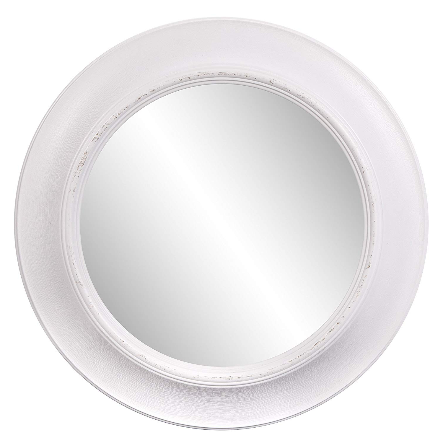 White Round Wall Mirrors Throughout Most Recently Released Patton Wall Decor 24 Inch Rustic Round Mirror In Distressed White (View 2 of 20)