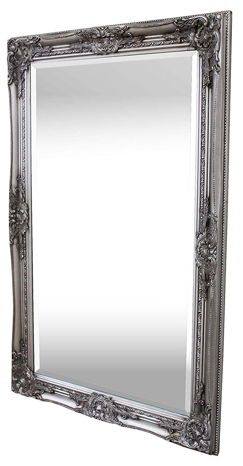 White Shabby Chic Wall Mirrors Within 2019 Rocococasa Chic – Shabby Chic Wall Mirror – 90x60 Cm (2x3 Feet) Solid Wood – Large French Vintage Style Mirror – Antique Silver (View 6 of 20)