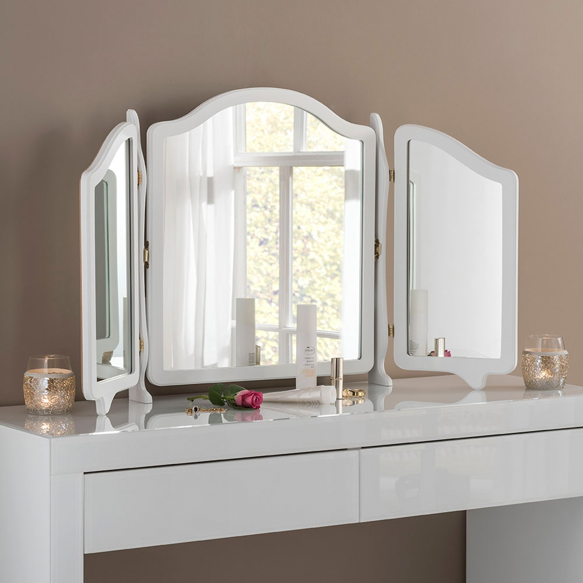 White Triple Vanity Mirror With Well Known Vanity Mirrors (View 5 of 20)