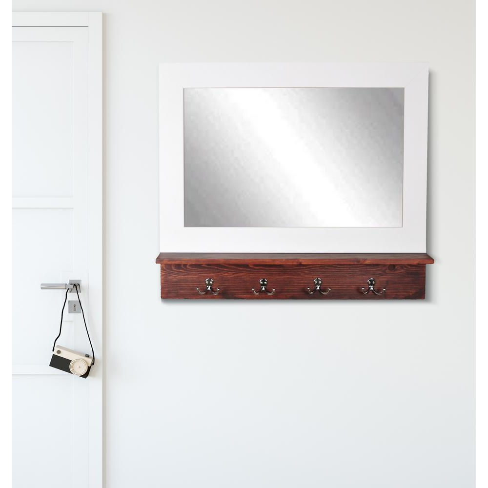 White Wall Mirrors With Hooks Inside Current Matte White Small Mirror With Dark Brown Shelf And 4 Silver Peg Hooks (View 8 of 20)