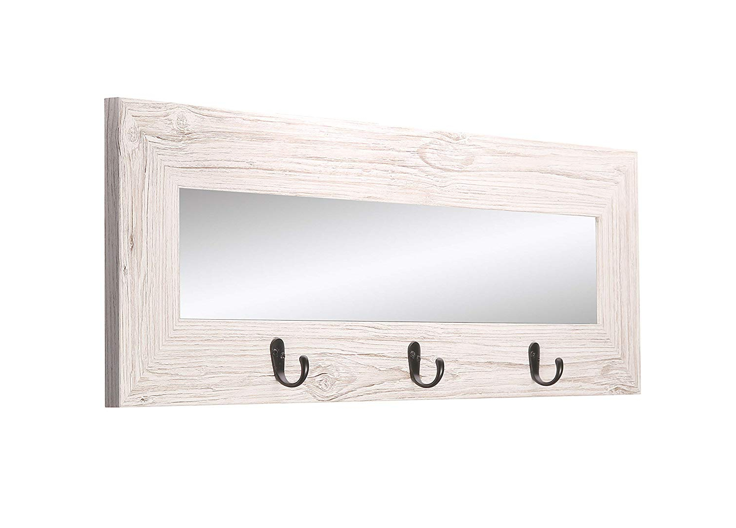 White Wall Mirrors With Hooks Throughout Recent Amazon: Brandtworks Bm008hk Last Look Farmhouse Wall (View 4 of 20)