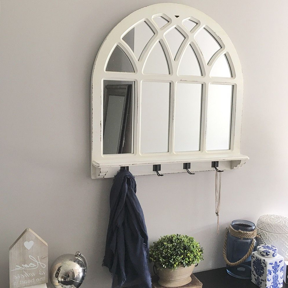 White Wood Arch Mirror With Shelf & Hooks/window Arched Regarding Well Known White Wall Mirrors With Hooks (View 3 of 20)