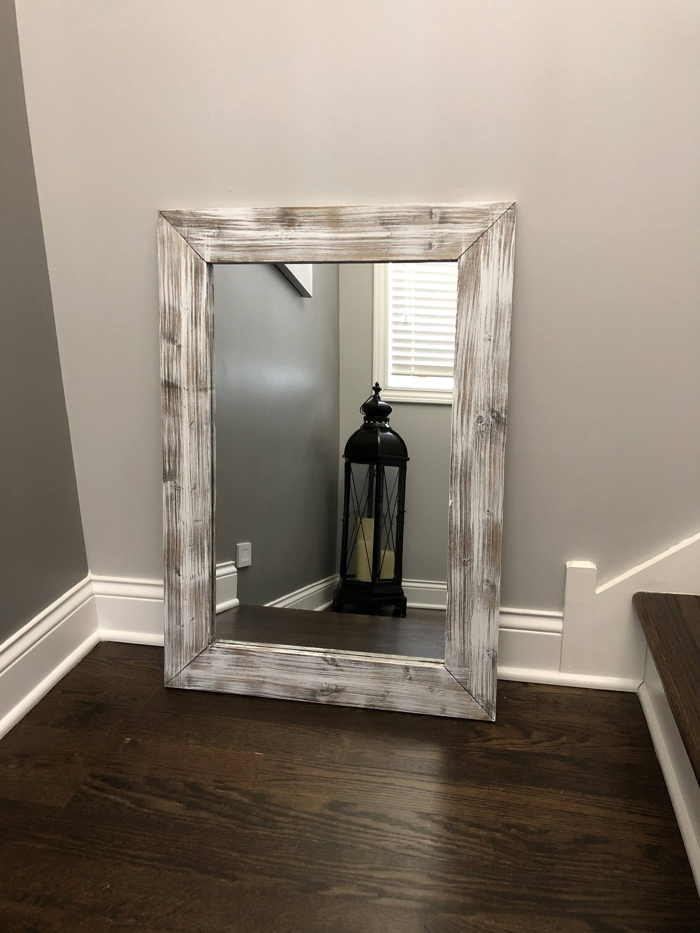 Whitewash Mirror, Wood Frame Mirror, Rustic Wood Mirror, Bathroom Inside Fashionable Large Wood Framed Wall Mirrors (View 16 of 20)