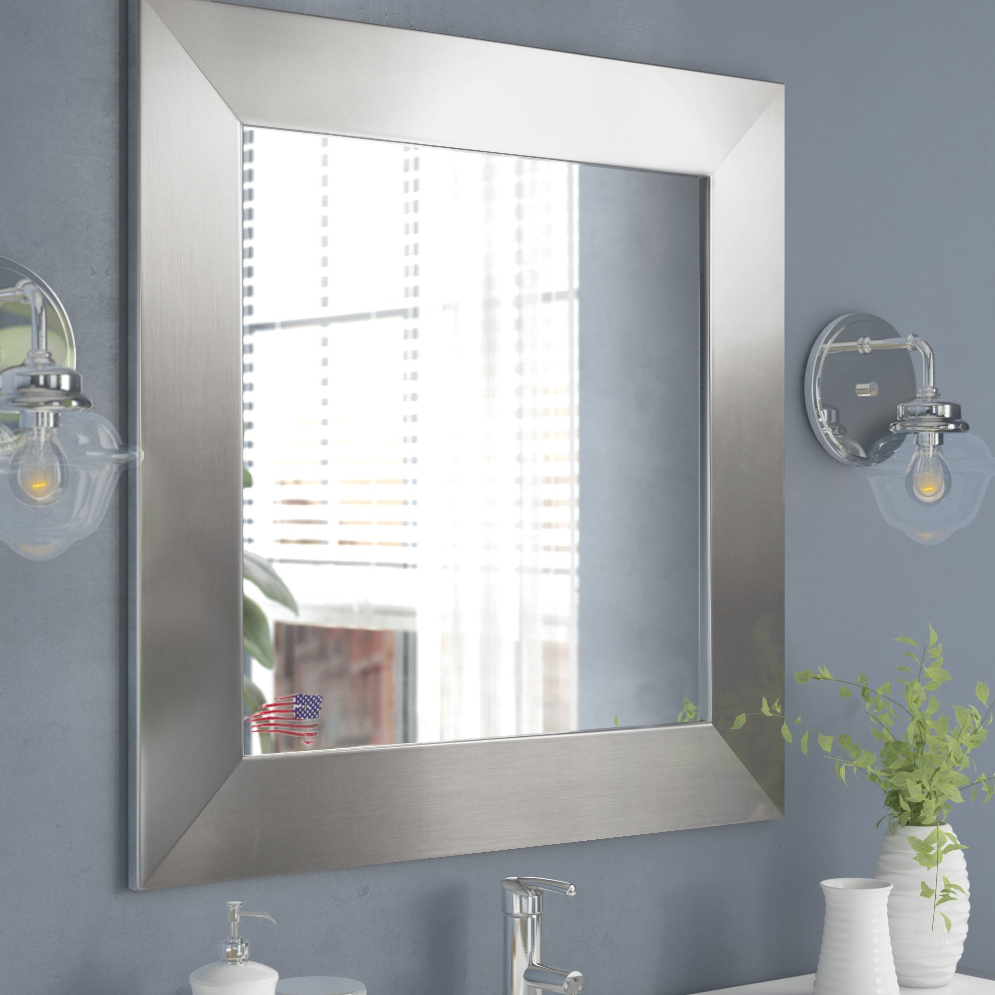 Wide Wall Mirrors Within Famous Wide Square Modern & Contemporary Accent Wall Mirror (View 8 of 20)
