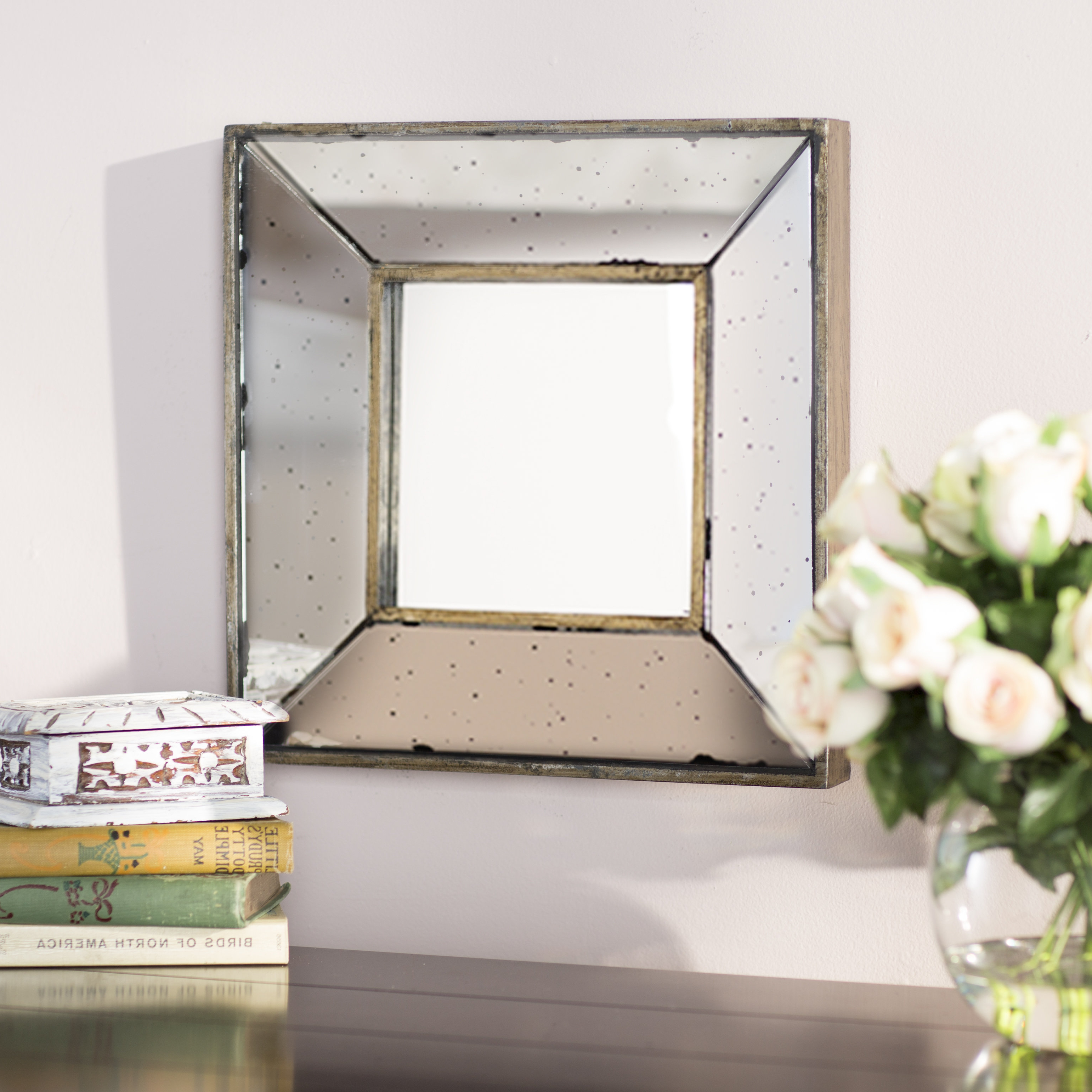 Widely Used 2 Piece Priscilla Square Traditional Beveled Distressed Accent Mirror Sets Pertaining To Lark Manor Traditional Square Glass Wall Mirror & Reviews (View 19 of 20)