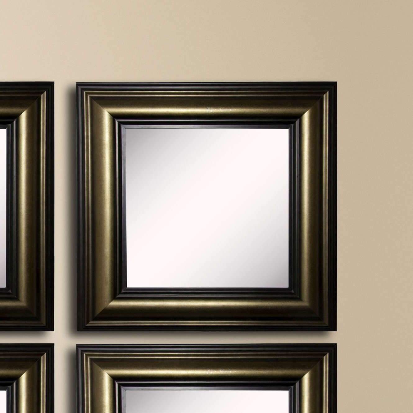 Widely Used 4 Piece Kimzey Stepped Antiqued Traditional Wall Mirror Set For Traditional Square Glass Wall Mirrors (Gallery 12 of 20)