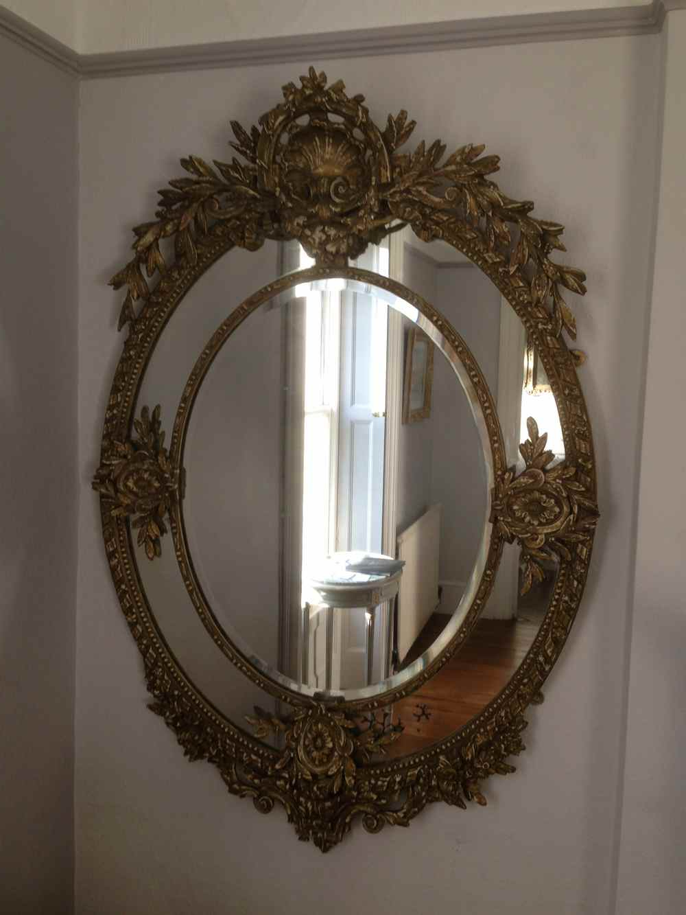 Widely Used A Wonderful Large Antique 19Th Century French Carved Wood Oval Ornate Wall Mirror (View 13 of 20)