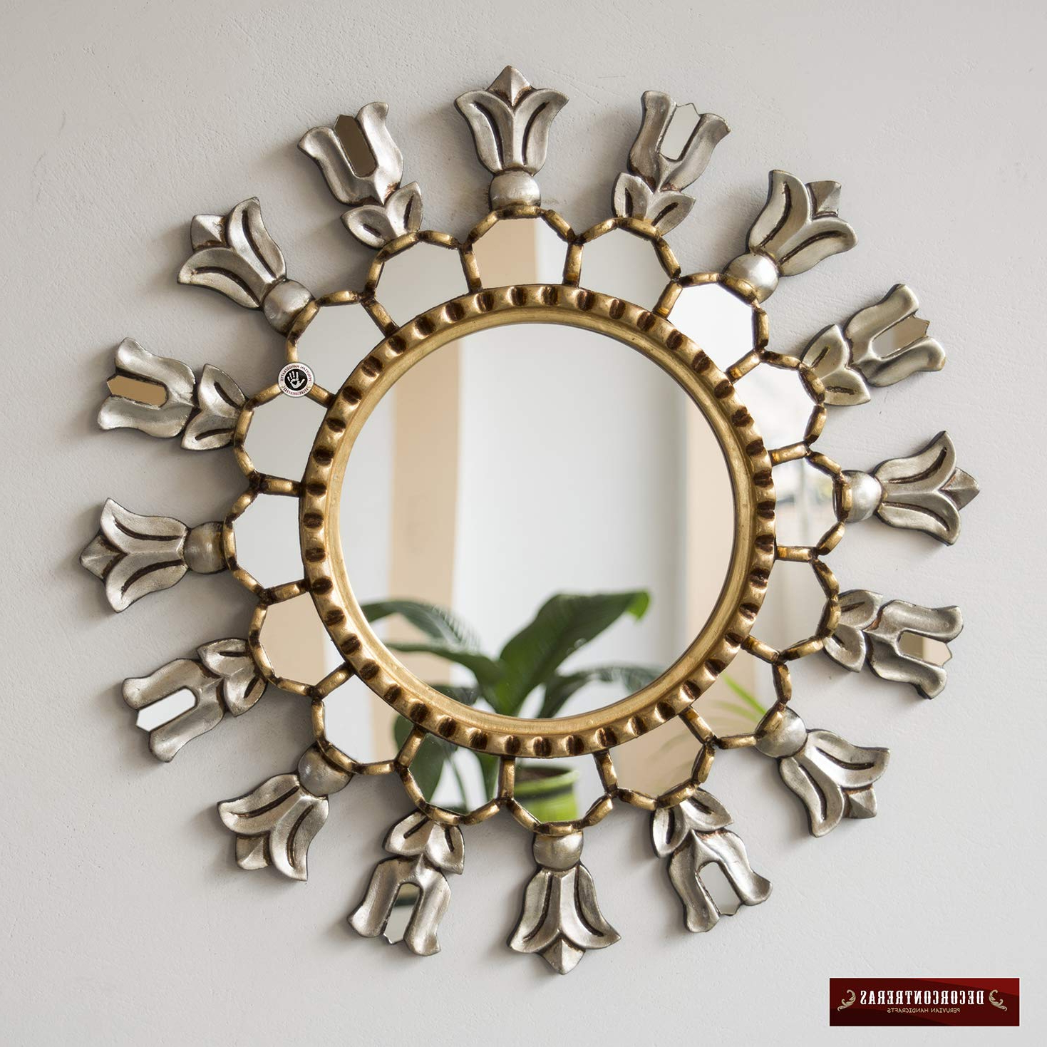 "Widely Used Accent Mirrors For Amazon: Silver & Gold Round Wall Mirror 17.7"", Hand Carved (Gallery 3 of 20)"