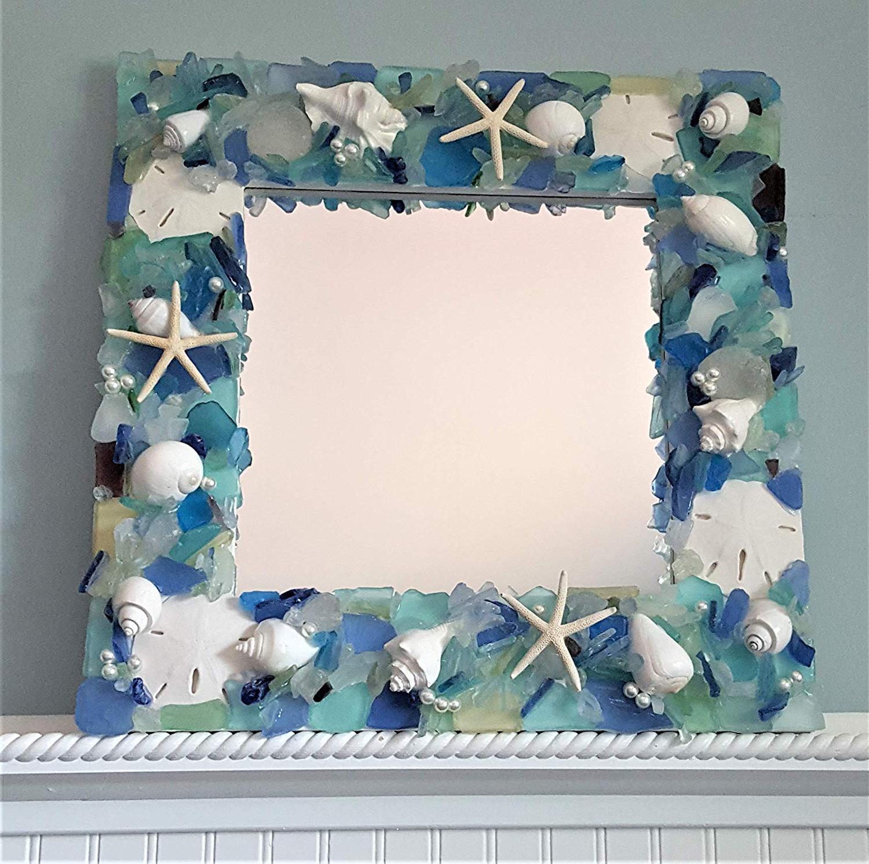 Widely Used Amazon: Beach Decor Sea Glass Wall Mirror, Nautical Decor Beach Within Coastal Wall Mirrors (View 19 of 20)