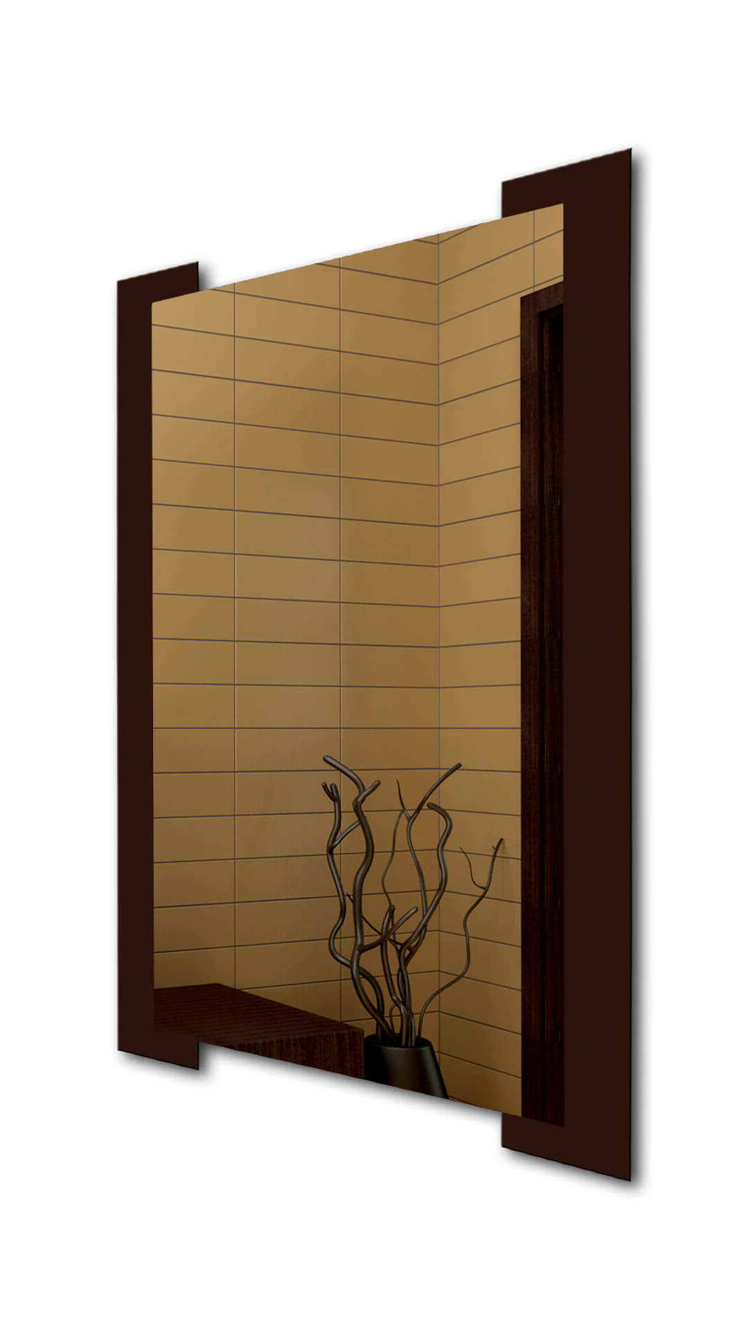 Widely Used Brown Wall Mirrors Intended For Dark Brown Striped Wall Mirror (View 6 of 20)