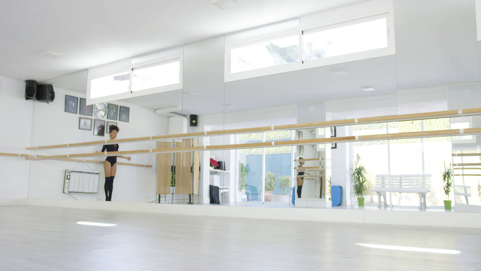 Widely Used Dance Wall Mirrors With Regard To Fit Athletic Young Dancer Leaping In The Air As She Practices In A Dance Studio In Front Of A Large Wall Mirror Low Angle With Copy Space (View 10 of 20)