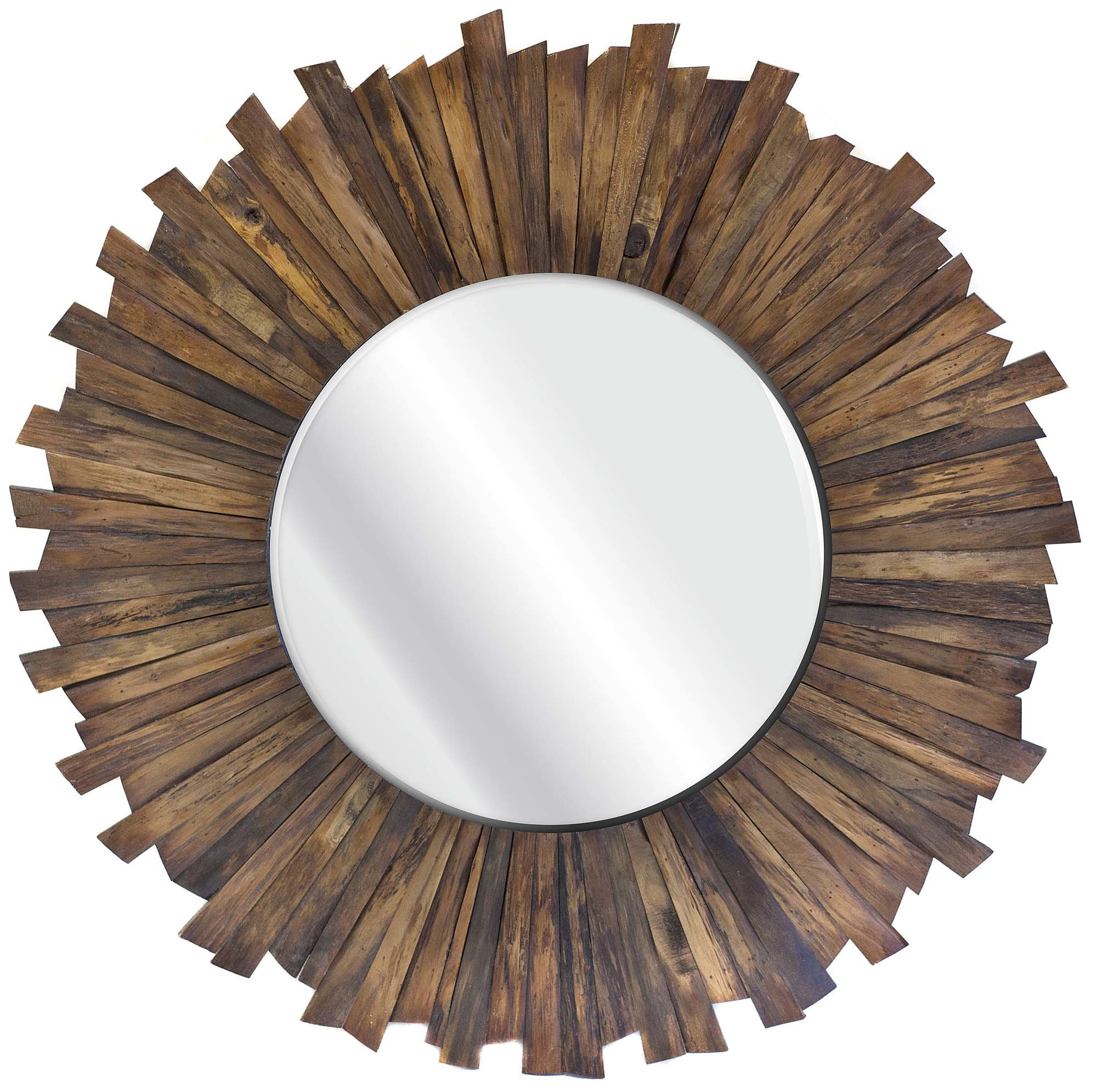 Widely Used Dandir Accent Mirror Pertaining To Perillo Burst Wood Accent Mirrors (Gallery 8 of 20)