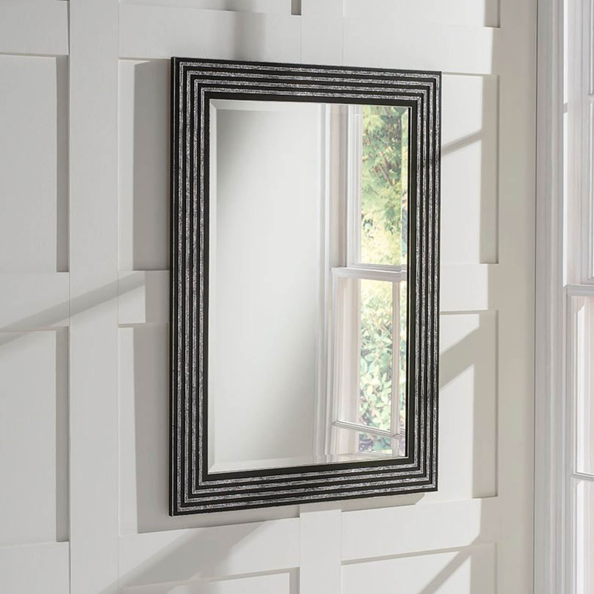 Widely Used Decorative Black Wall Mirrors Regarding Black And Silver Decorative Wall Mirror (View 5 of 20)