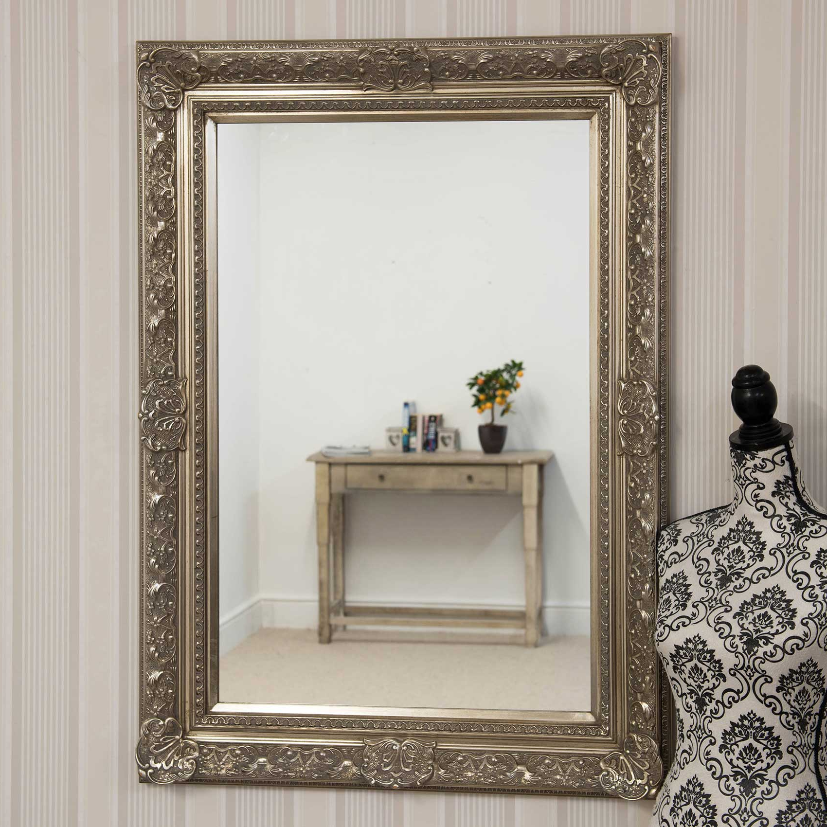 Widely Used Details About 3ft10 X 2ft10 117cm X 86cm Large Silver Antique Style Big  Wall Mirror Rectangle Regarding Big Wall Mirrors (View 17 of 20)